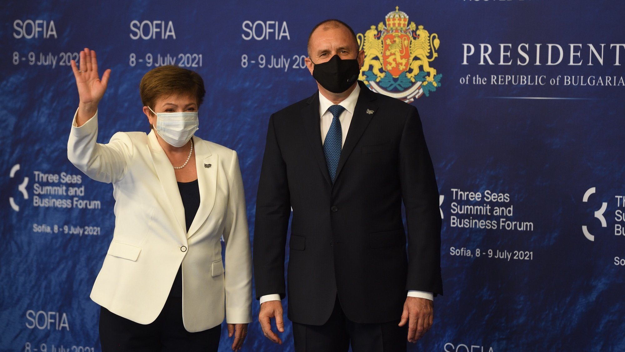 epa09331311 Bulgarian President Rumen Radev (R) welcomes Managing Director of the International Monetary Fund (IMF), Kristalina Georgieva (L) during the opening of the sixth Summit of the Three Seas and Business Forum in Sofia, Bulgaria, 08 July 2021. The summit and business forum of the Three Seas Initiative will be held on 08 and 09 July 2021 at the National Palace of Culture in Sofia.  EPA/VASSIL DONEV