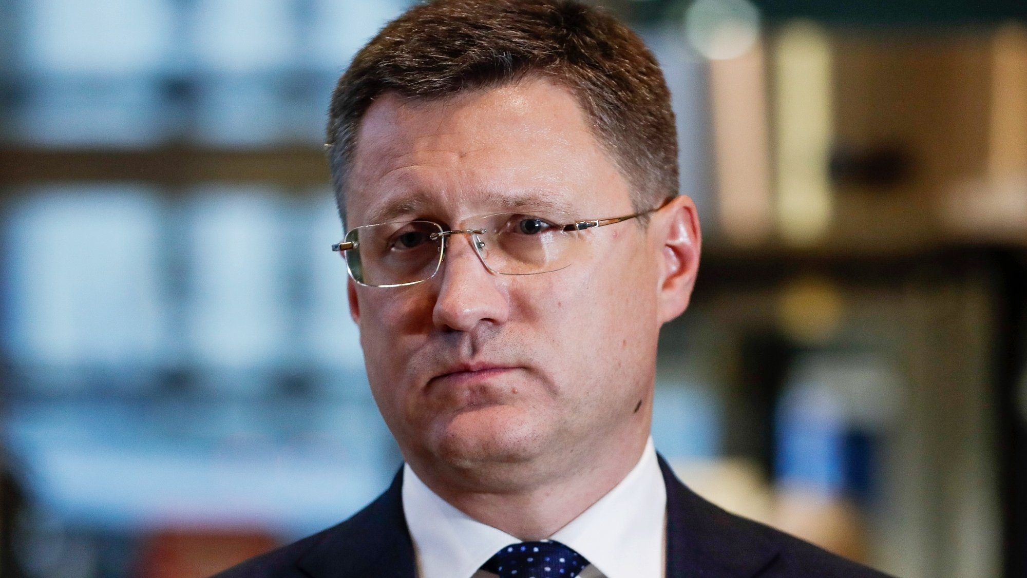 epa07956577 Russian Minister of Energy Alexander Novak speaks to the press after a Trilateral Gas Talks  between the European Union, Russia and Ukraine at the EU Commission headquarters in Brussels, Belgium, 28 October 2019.  EPA/STEPHANIE LECOCQ