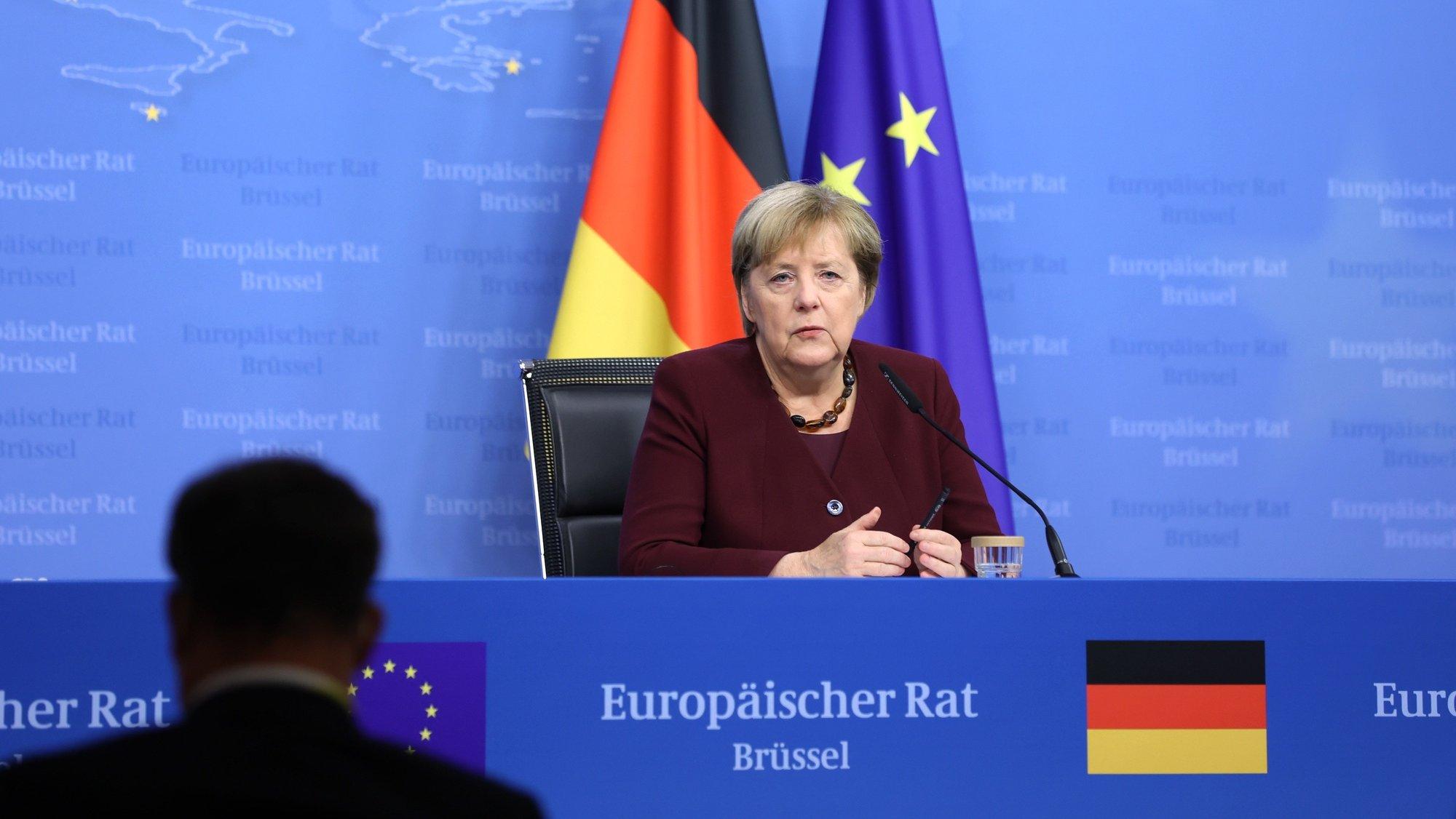 Angel Merkel no Conselho Europeu, em Bruxelas