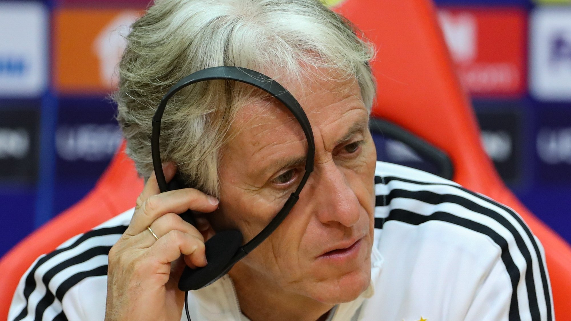 Benfica's head coach Jorge Jesus attends a press conference at Benfica's training camp in Seixal, Portugal, 19 October  2021. Benfica Lisbon will face Bayern Munich in their UEFA Champion League group E soccer match on 20 October 2021. ANTONIO COTRIM/LUSA