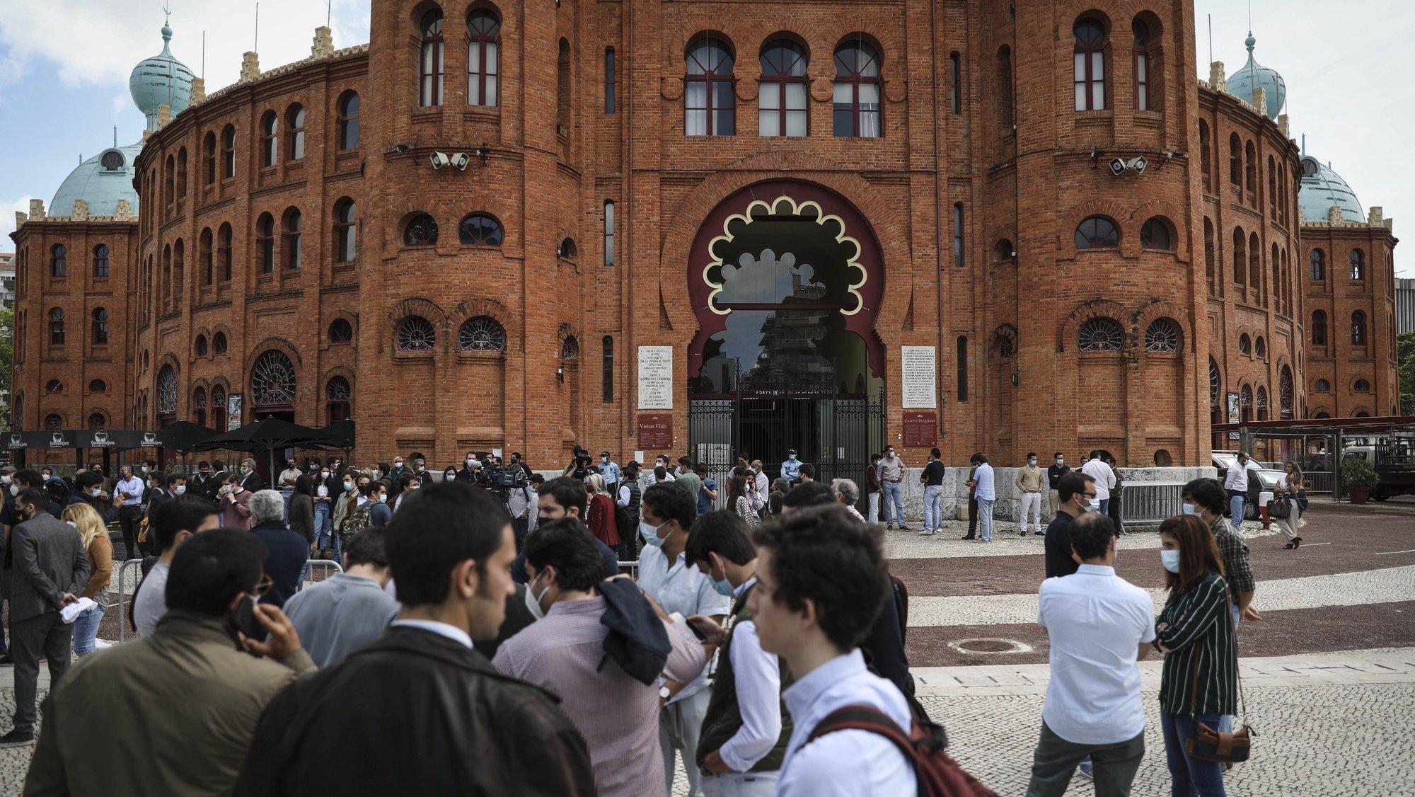 Protesto da Federação Portuguesa de Tauromaquia (ProToiro), contra a não permissão pelo Governo do retomar das touradas, na atual fase de desconfinamento, devido à pandemia de covid-19, em frente ao Campo Pequeno, em Lisboa, 22 de abril de 2021. RODRIGO ANTUNES/LUSA