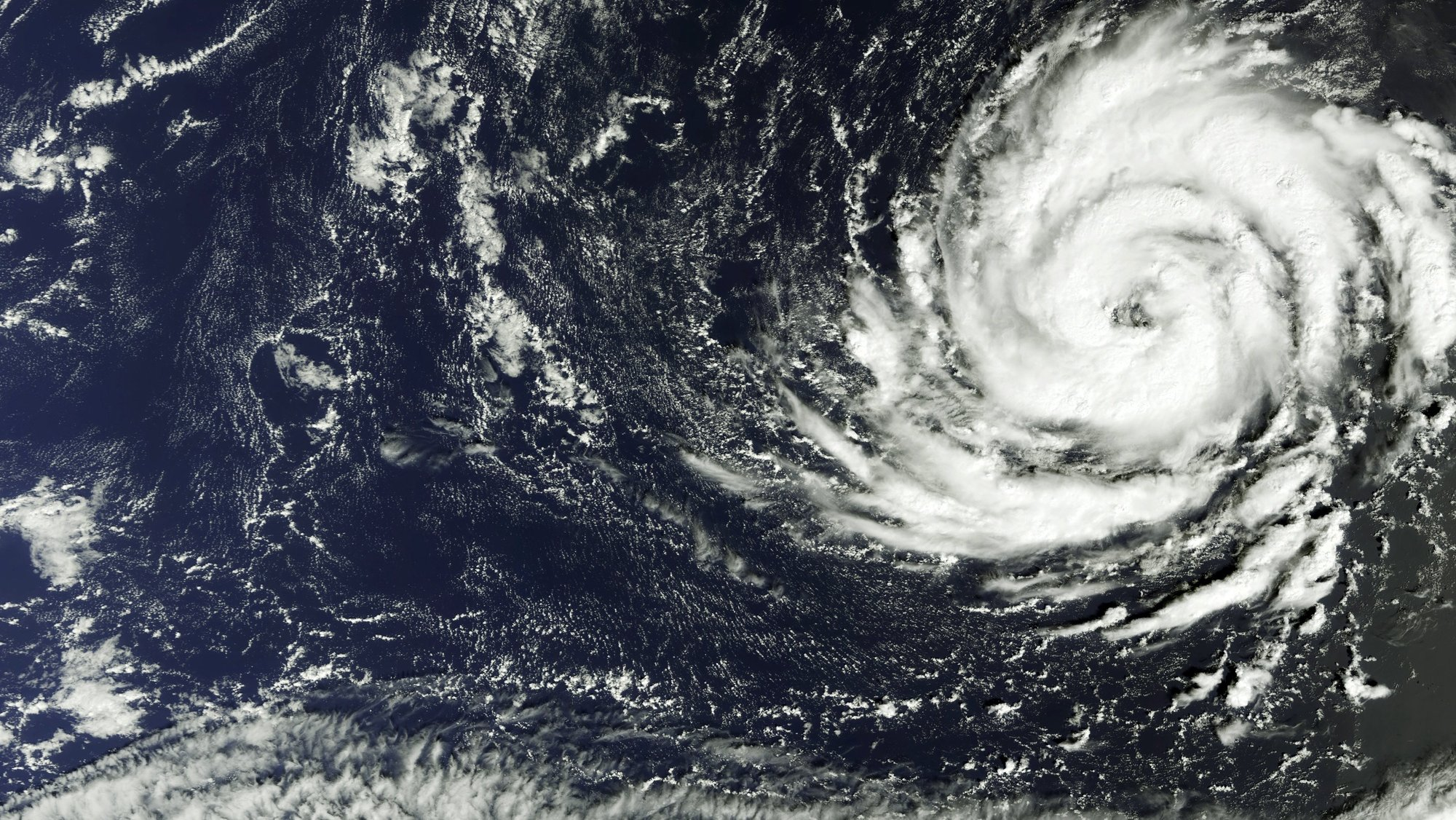 epa06263001 A handout photo made available by the European Space Agency (ESA) on 13 October 2017 shows hurricane Ophelia captured by the Copernicus Sentinel-3A satellite on 11 October 2017. The Copernicus Sentinel-3A satellite captured this image on 11 October 2017, when Hurricane Ophelia was about 1300 km southwest of the Azores islands and some 2000 km off the African coast. Originally classified as a tropical storm, it has been upgraded to a hurricane. The US National Hurricane Centre said that Ophelia could become even stronger in the next days. The storm is moving northeasterly, threatening to hit the northwestern tip of Spain before moving towards Britain.  EPA/ESA / HANDOUT  HANDOUT EDITORIAL USE ONLY/NO SALES