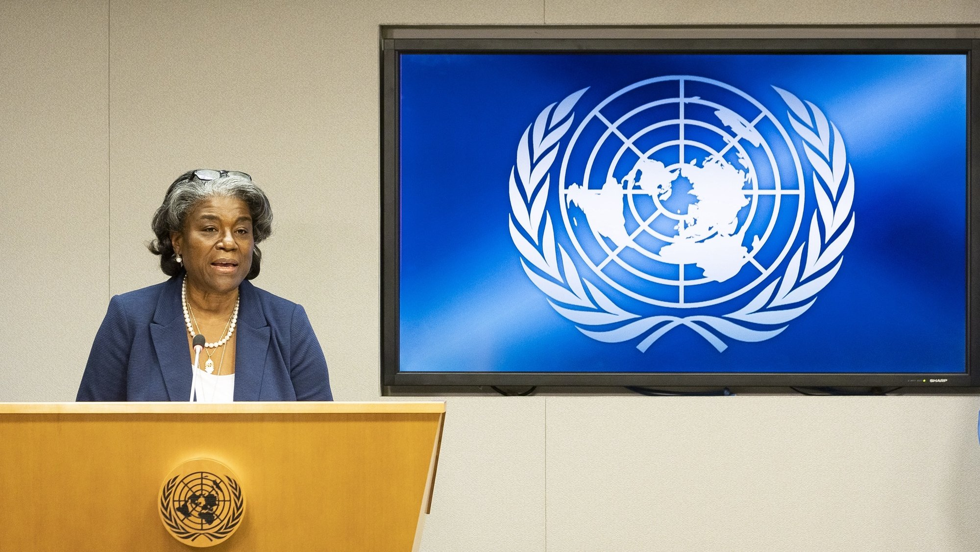 epa09045277 Linda Thomas-Greenfield, the United States' new ambassador to the United Nations, holds her first press conference as the United States is set to take the presidency of the UN Security Council for the month, at United Nations headquarters in New York, New York, USA, 01 March 2021.  EPA/JUSTIN LANE