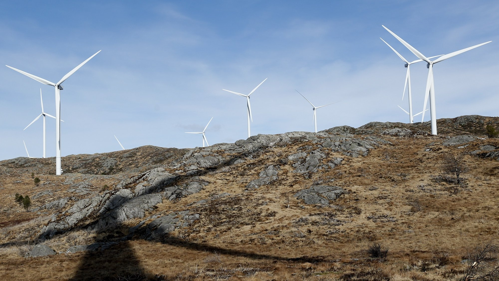 epa07478791 Wind turbines in Midtfjellet wind farm in Fitjar, Norway, 01 April 2019. The Norwegian Water Resources and Energy Directorate (NVE) submitted its proposal for a national framework for wind power on land. In the proposal, NVE points out 13 areas in Norway as the most suitable for developing wind power on land.  EPA/Jan Kare Ness  NORWAY OUT