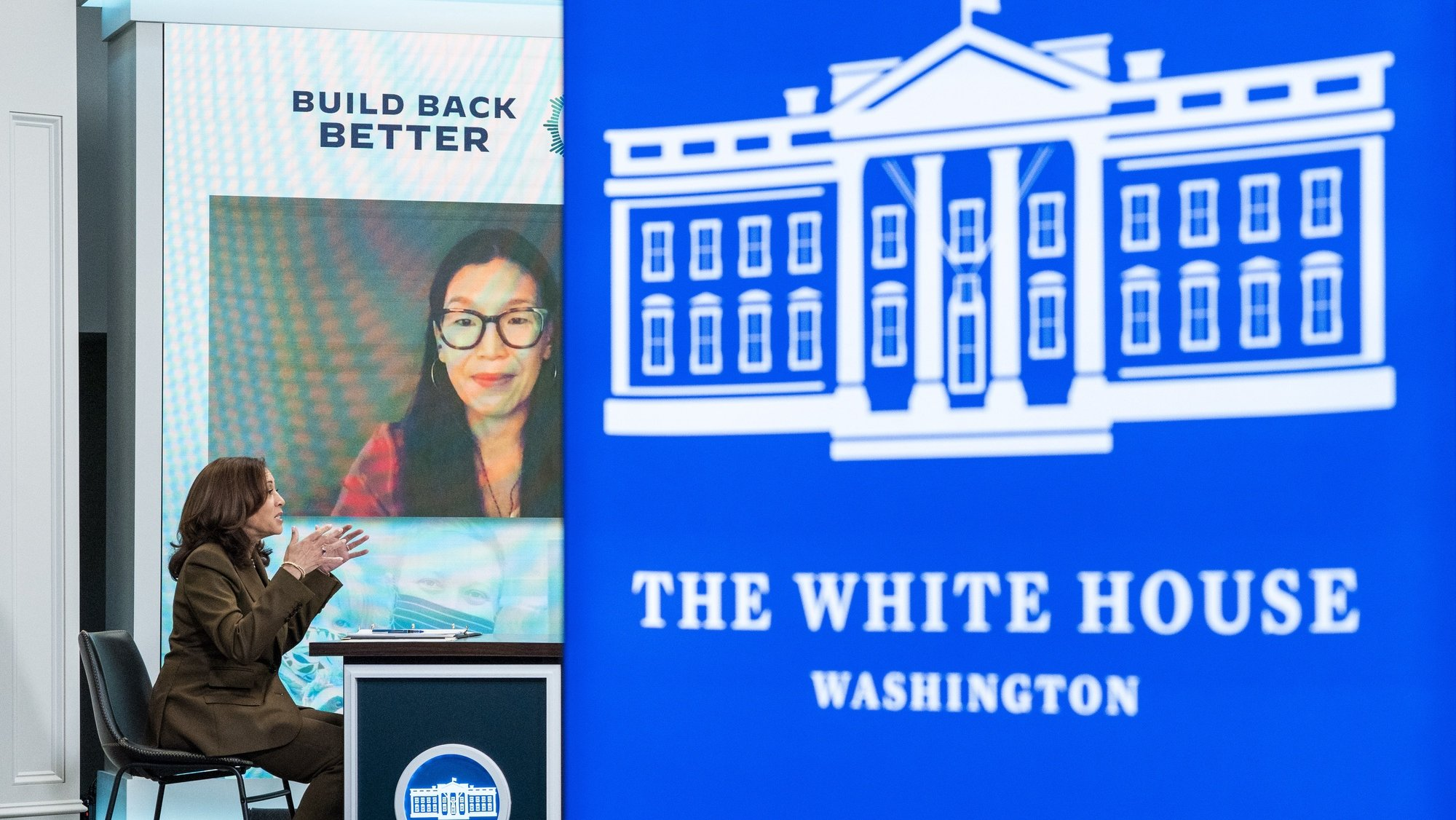 Vice presidente Kamala Harris numa reunião virtual