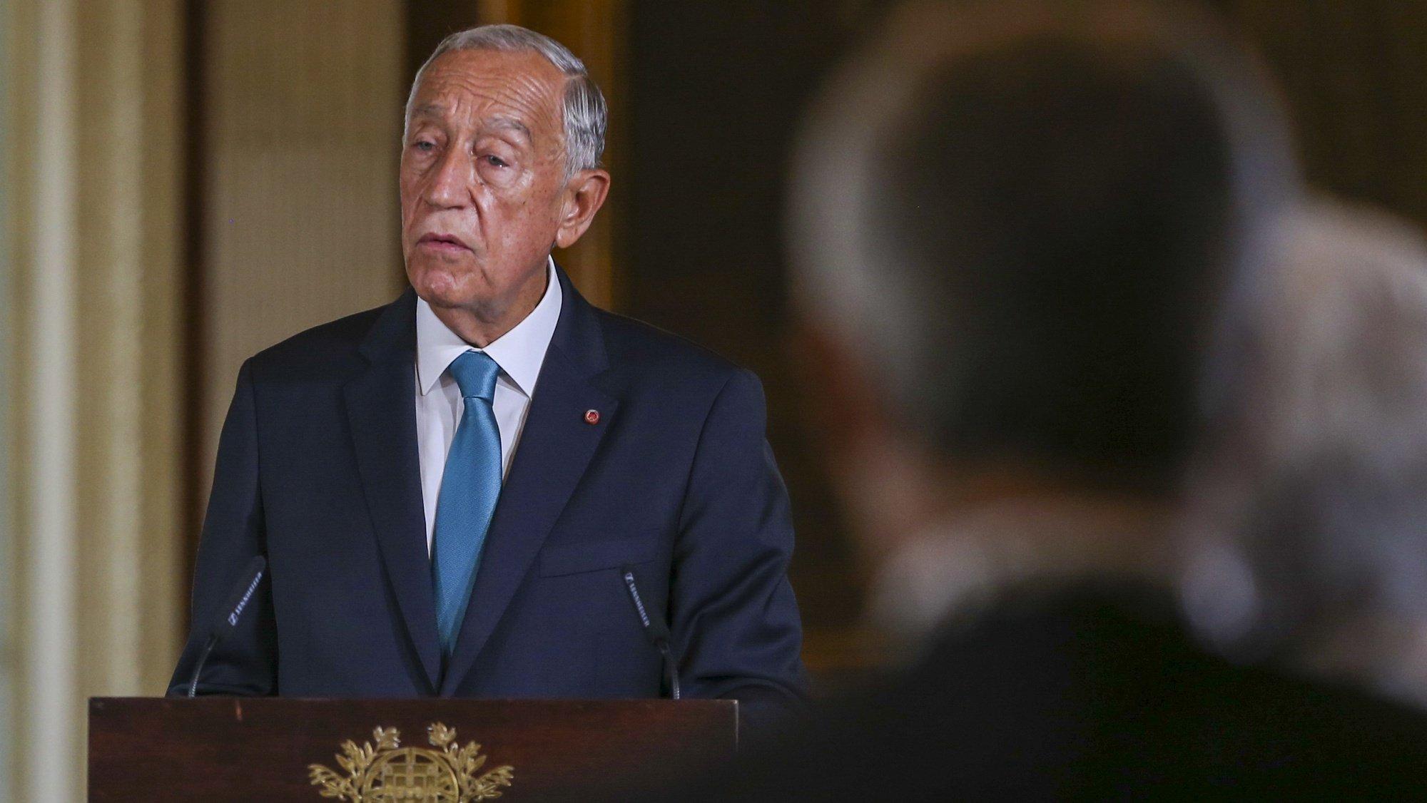O Presidente da República, Marcelo Rebelo de Sousa, discursa no Salão Nobre durante as comemorações oficiais do 5 de Outubro, Dia da Implantação da República Portuguesa, realizadas na Câmara Municipal de Lisboa, 5 de outubro de 2021. MANUEL DE ALMEIDA/LUSA