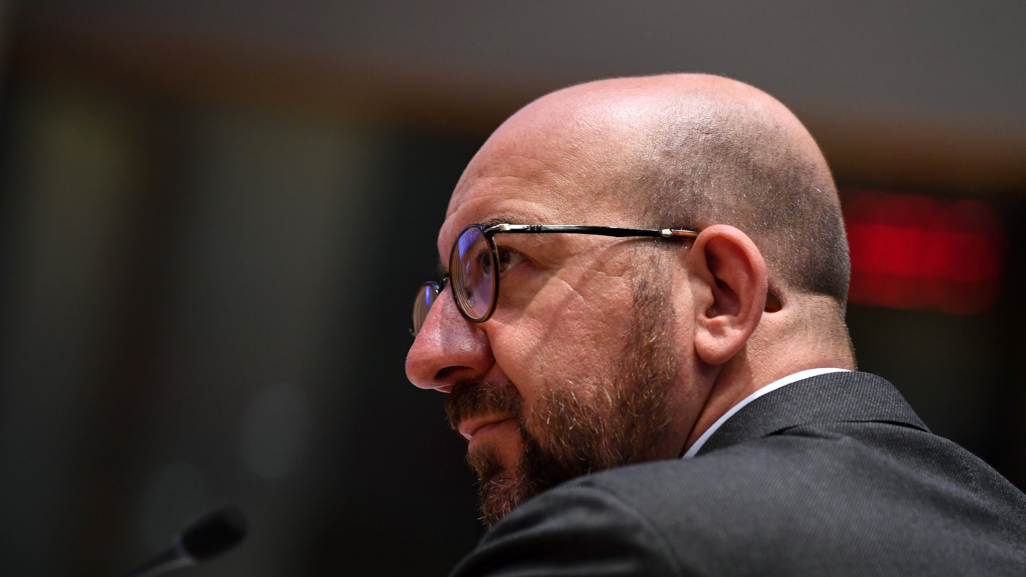 epa09343575 European Council President Charles Michel arrives for a video conference with Albanian Prime Minister Edi Rama at EU headquarters in Brussels, Belgium, 14 July 2021.  EPA/JOHN THYS / POOL