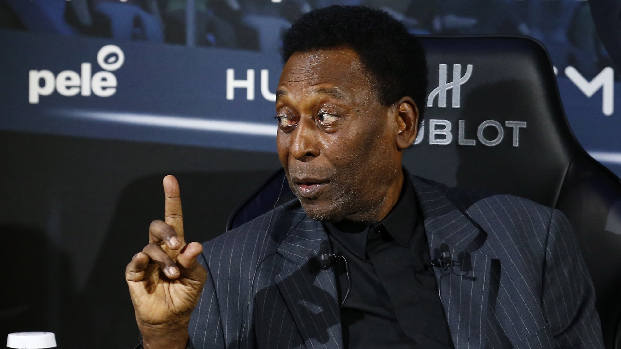epa08767362 (FILE) - Legendary Brazilian former soccer player Pele attends a press conference at a commercial event in Paris, France, 02 April 2019 (re-issued on 23 October 2020). Edson Arantes do Nascimento 'Pele' was born in Tres Coracoes, Minas Gerais, Brazil on 23 October 1940 and celebrates today his 80th birthday.  EPA/IAN LANGSDON *** Local Caption *** 55099820