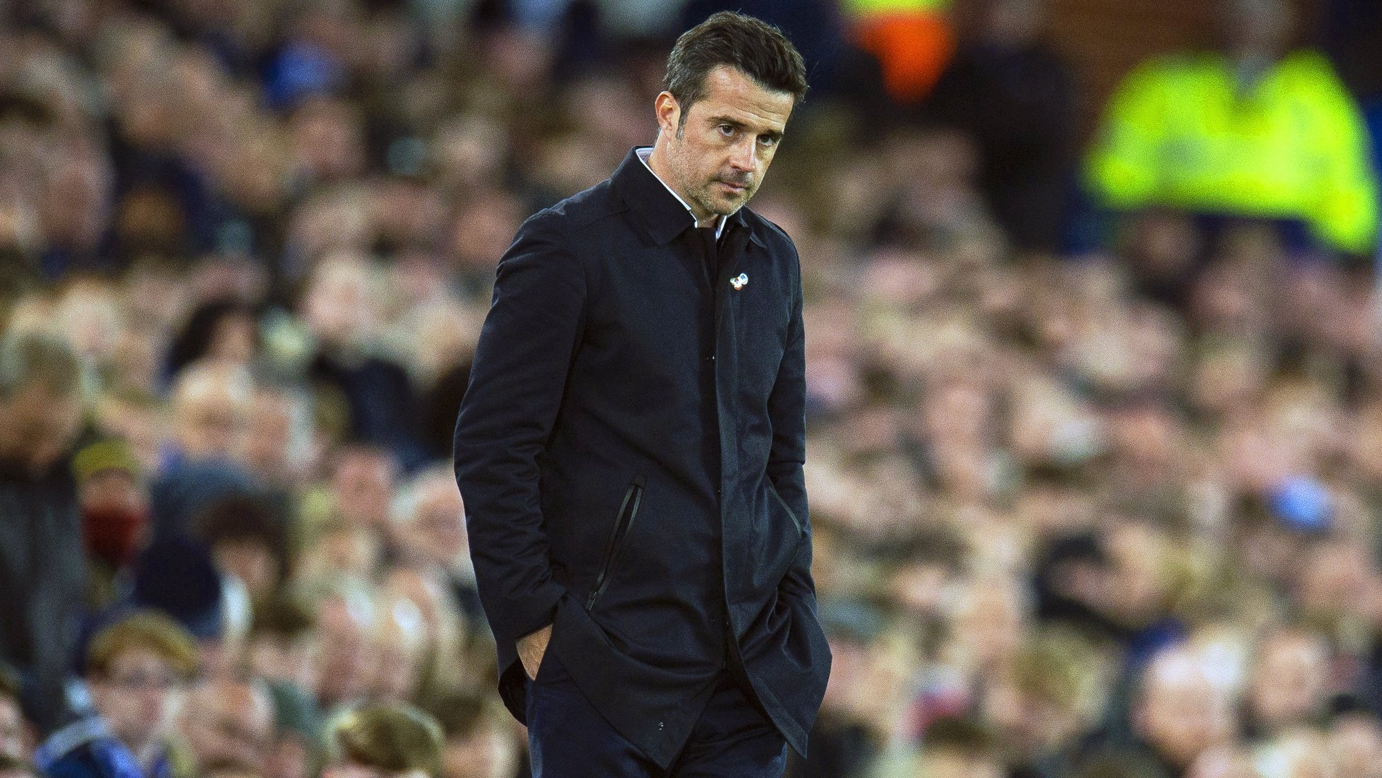 epa07970203 Everton's manager Marco Silva reacts during the English Premier League soccer match between Everton FC and Tottenham Hotspur at the Goodison Park in Liverpool, Britain, 03 November 2019.  EPA/PETER POWELL EDITORIAL USE ONLY. No use with unauthorized audio, video, data, fixture lists, club/league logos or 'live' services. Online in-match use limited to 120 images, no video emulation. No use in betting, games or single club/league/player publications