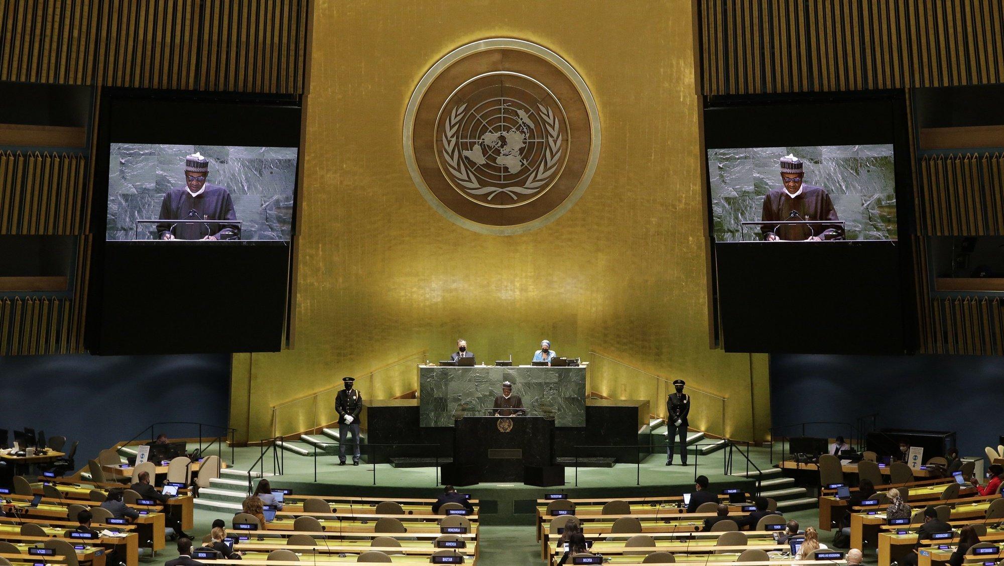 epa09485636 Nigeria's President Muhammadu Buhari  addresses the 76th Session of the United Nations General Assembly, in New York City, New York, USA, 24 September 2021.  EPA/JOHN ANGELILLO / POOL