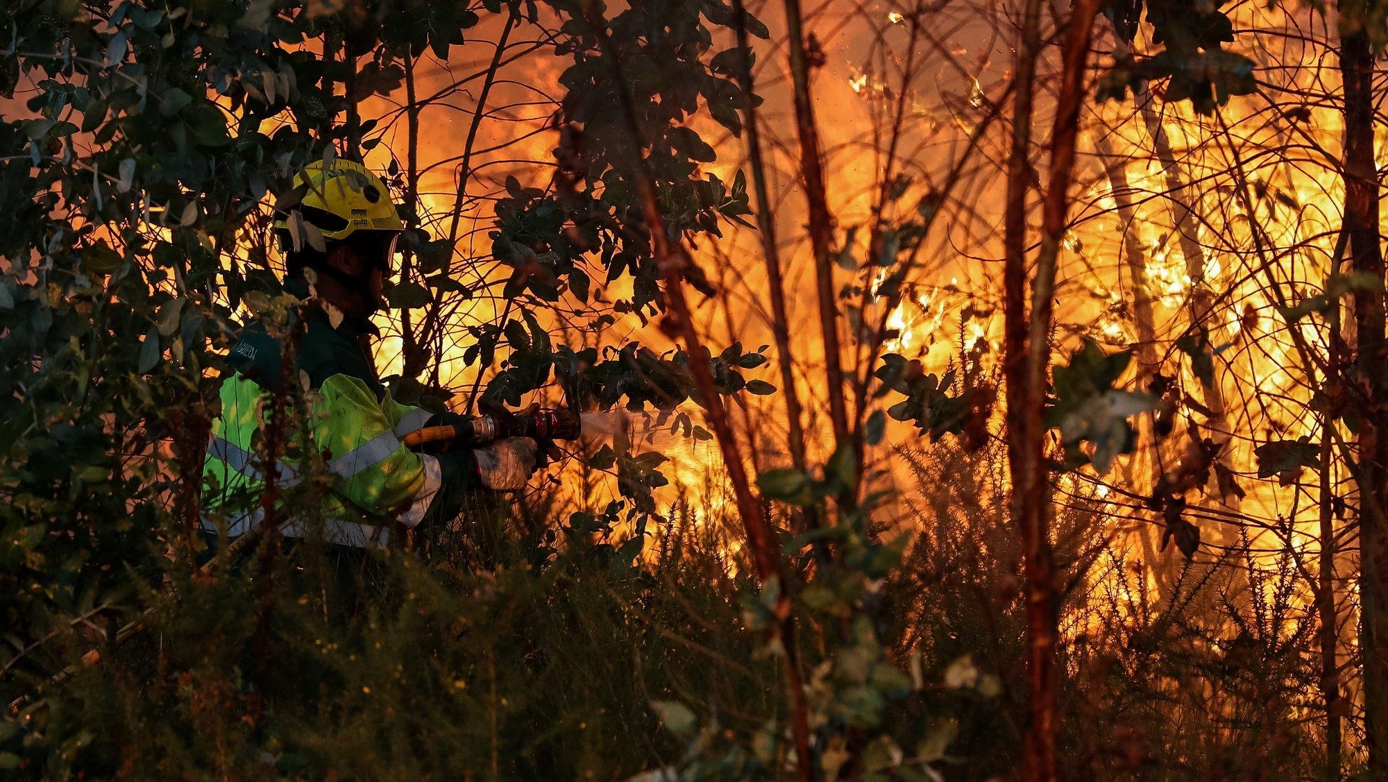 Um bombeiro durante o combate ao incêndio florestal em Veiga, Águeda, 5 de setembro de 2019. No início da tarde combatiam as chamas em Águeda 52 operacionais com 15 viaturas, bem como cinco meios aéreos. PAULO NOVAIS/LUSA