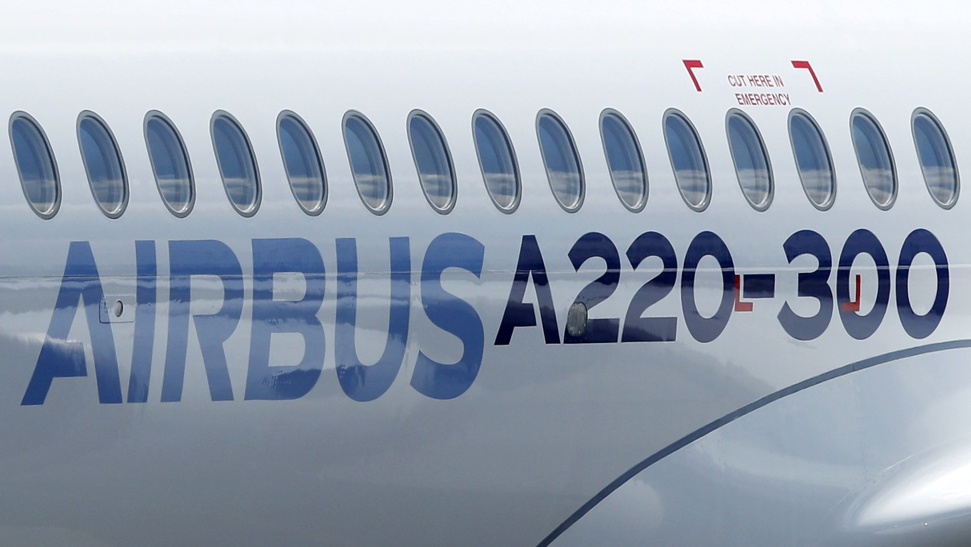 epa06877729 A new Airbus A220-300 aircraft during the presentation of the new Airbus A220-300 Single-Aisle aircraft at the Airbus's delivery center in Colomiers, near Toulouse, France, 10 July 2018. After taking the control of Bombardier aircraft manufacturer on June 2018, the CSeries program CS 100 and CS 300 becomes the new Airbus A220-300 Single-Aisle aircraft.  EPA/GUILLAUME HORCAJUELO