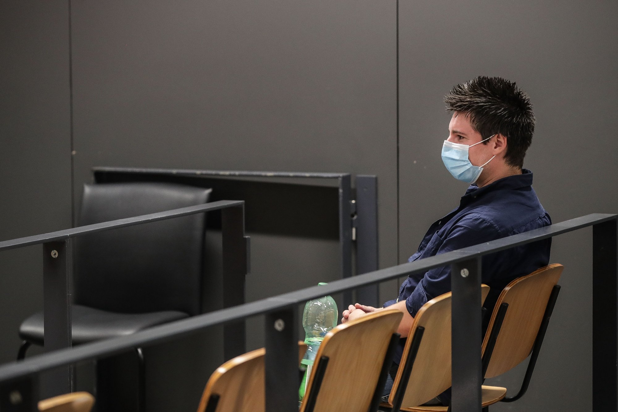 Football Leaks whistleblower Rui Pinto waiting for the start of his trial at Justice Campus in Lisbon, Portugal, 4 September 2020. Rui Pinto is on trial for 90 crimes: 68 of undue access, 14 of violation of correspondence, 6 of illegitimate access and also for computer sabotage to Sporting's SAD and for extortion of the Doyen investment fund. MARIO CRUZ/LUSA