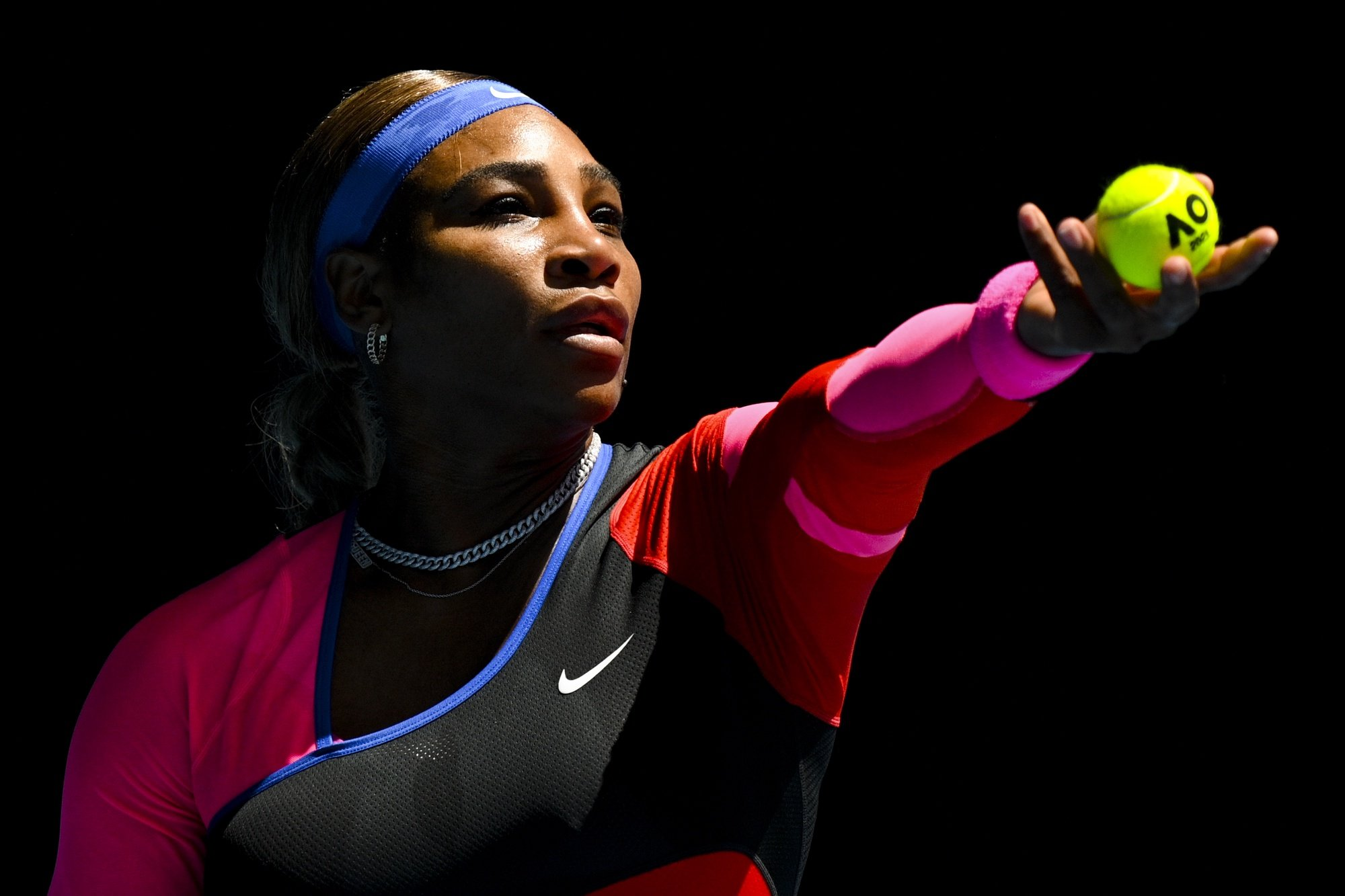 epa09005659 Serena Williams of the United States of America in action during her third round women's singles match against Anastasia Potapova of Russia at the Australian Open Grand Slam tennis tournament in Melbourne, Australia, 12 February 2021.  EPA/DEAN LEWINS