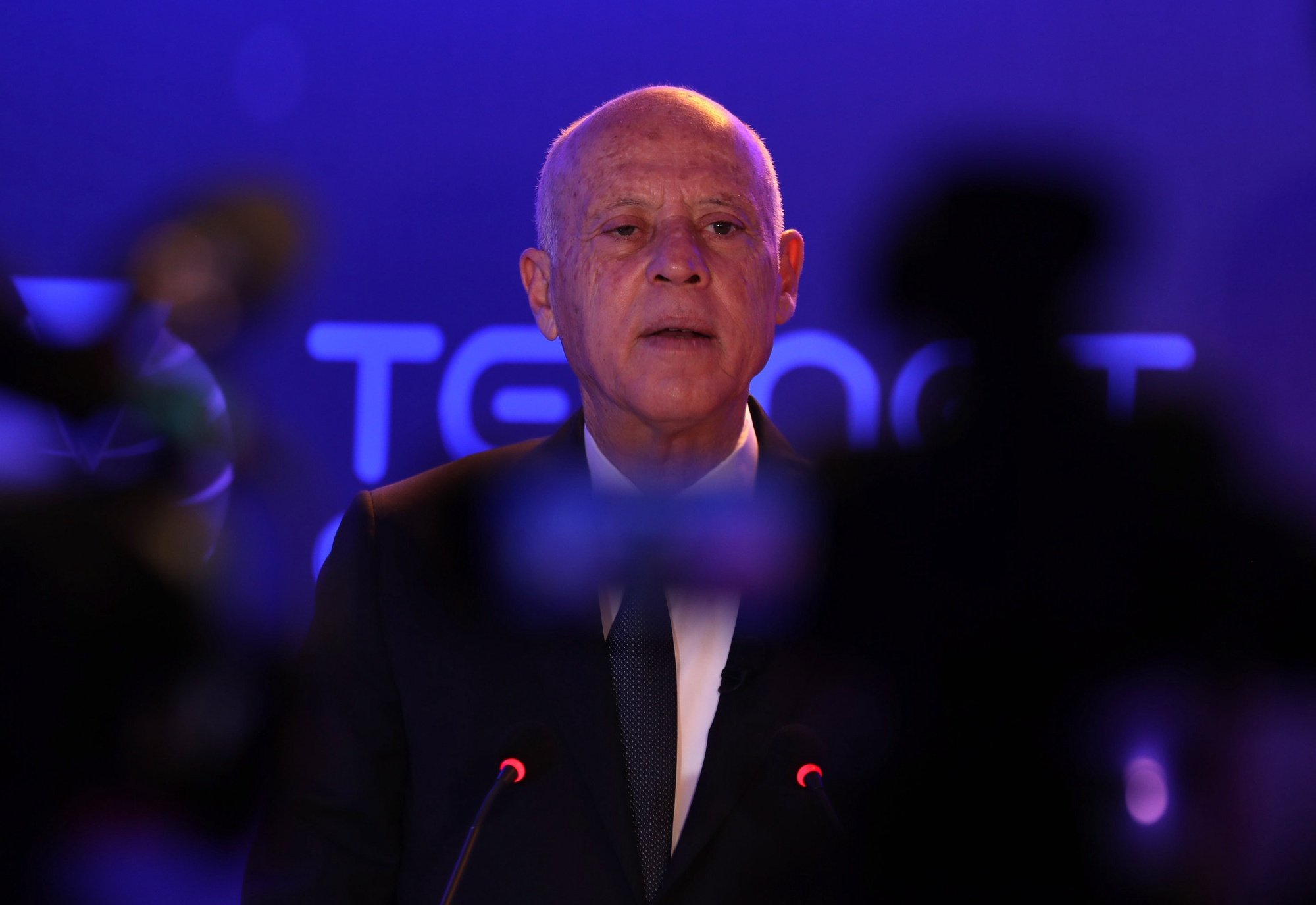 epa09365583 (FILE) - Tunisian President Kais Saied speaks during the launch of Tunisia's first satellite 'Challenge-1', which was created by the Telnet telecommunications group, in Tunis, Tunisia, 22 March 2021 (Reissued 25 July 2021). On 25 July 2021 following protests in multiple cities against the government's handling of the COVID-19 pandemic, Tunisian President Kais Saied anounced that he is relieving Prime Minister Hicham Mechichi, freezing the Parliament and suspending its members immunity, and assuming control of the executive authority with the assistance of a new Prime Minister to be selected at a later date.  EPA/MOHAMED MESSARA *** Local Caption *** 56778570