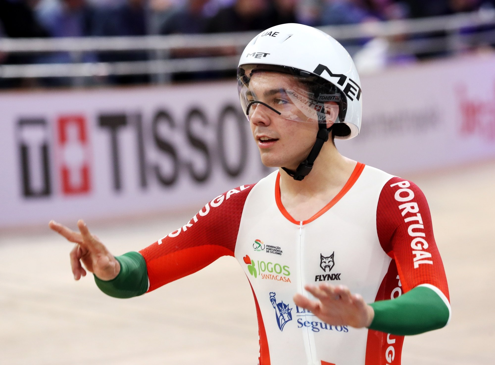 epa08253438 Iuri Leitao of Portugal gestures after the Men's Scratch Race at the UCI Track Cycling World Championships in Berlin, Germany, 27 February 2020.  EPA/FOCKE STRANGMANN
