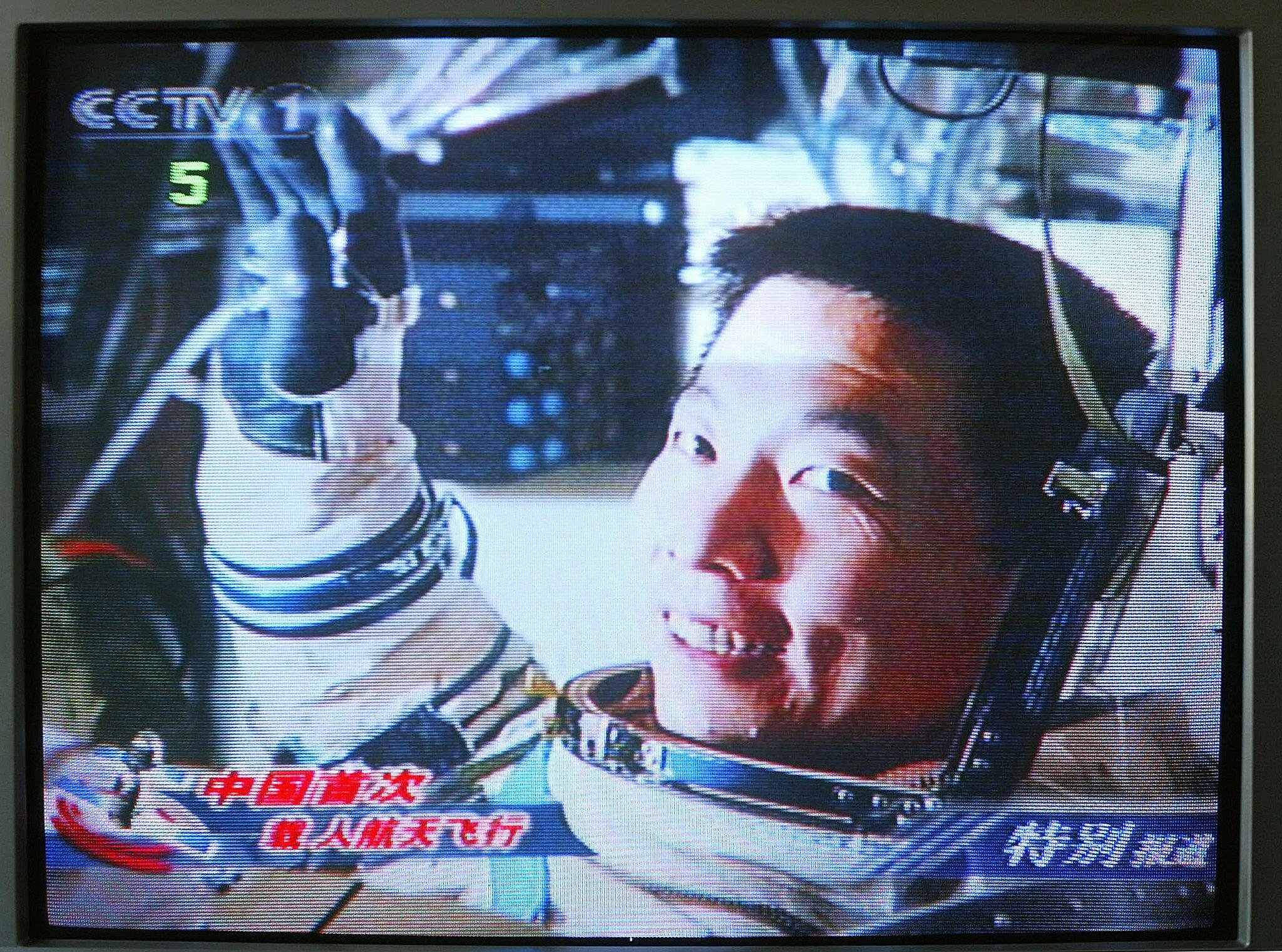 TV grab shows Chinese astronaut Yang Liw