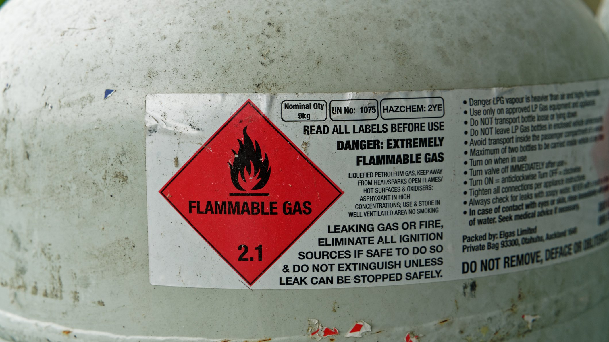 Aviso de gás inflamável