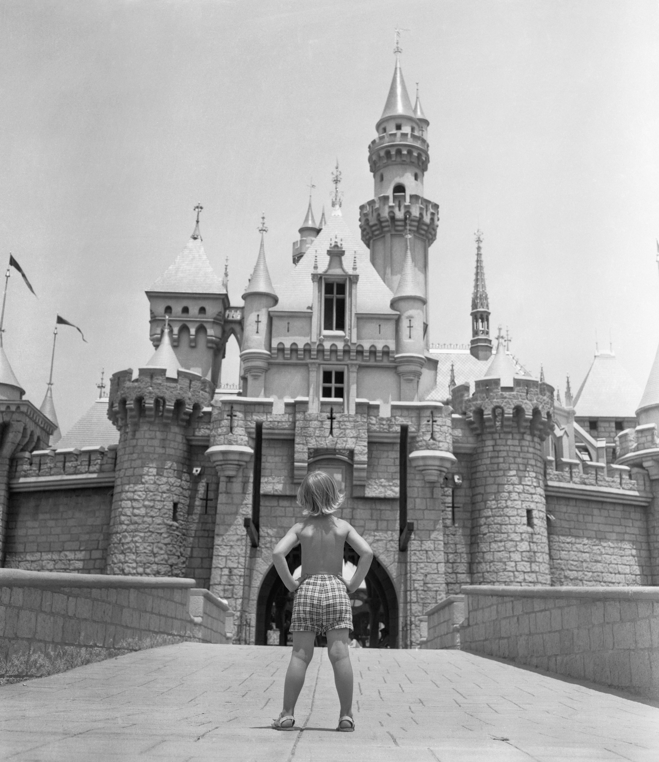 Girl Staring at Sleeping Beauty Castle