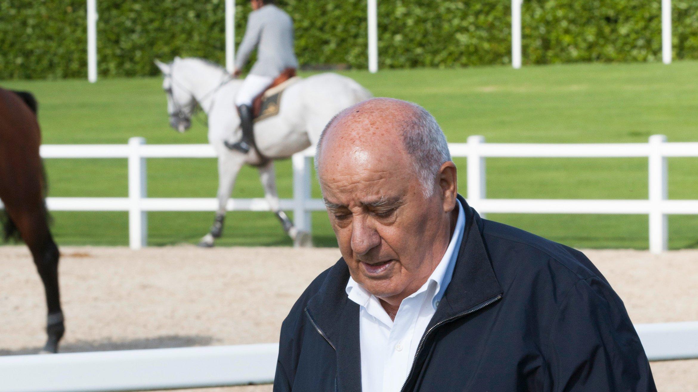 Amancio Ortega and Family Attend CSI Casa Novas Horse Jumping Competition 2013