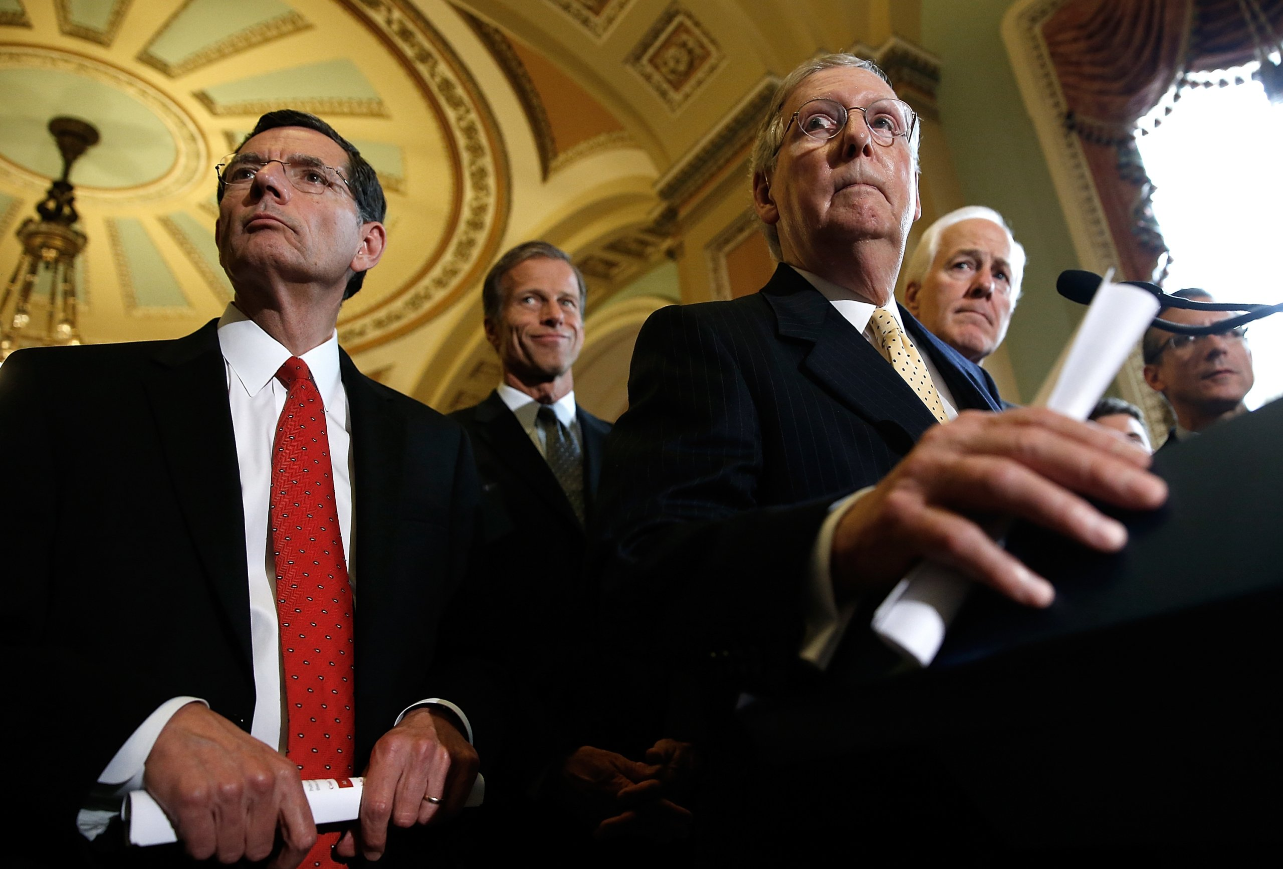 Senate Lawmakers Address The Media After Their Weekly Policy Meetings