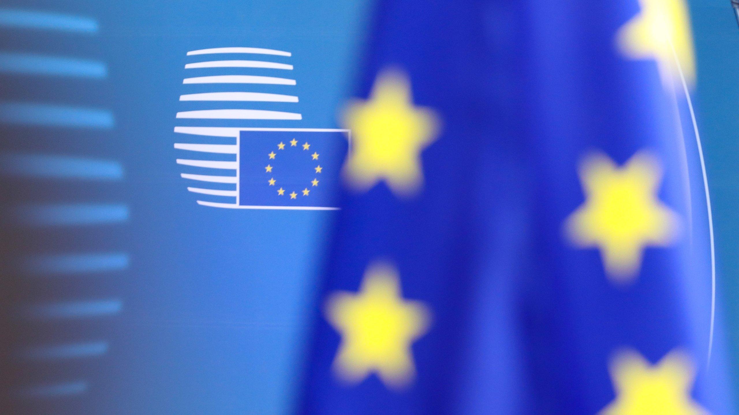 EU Flags At The European Council