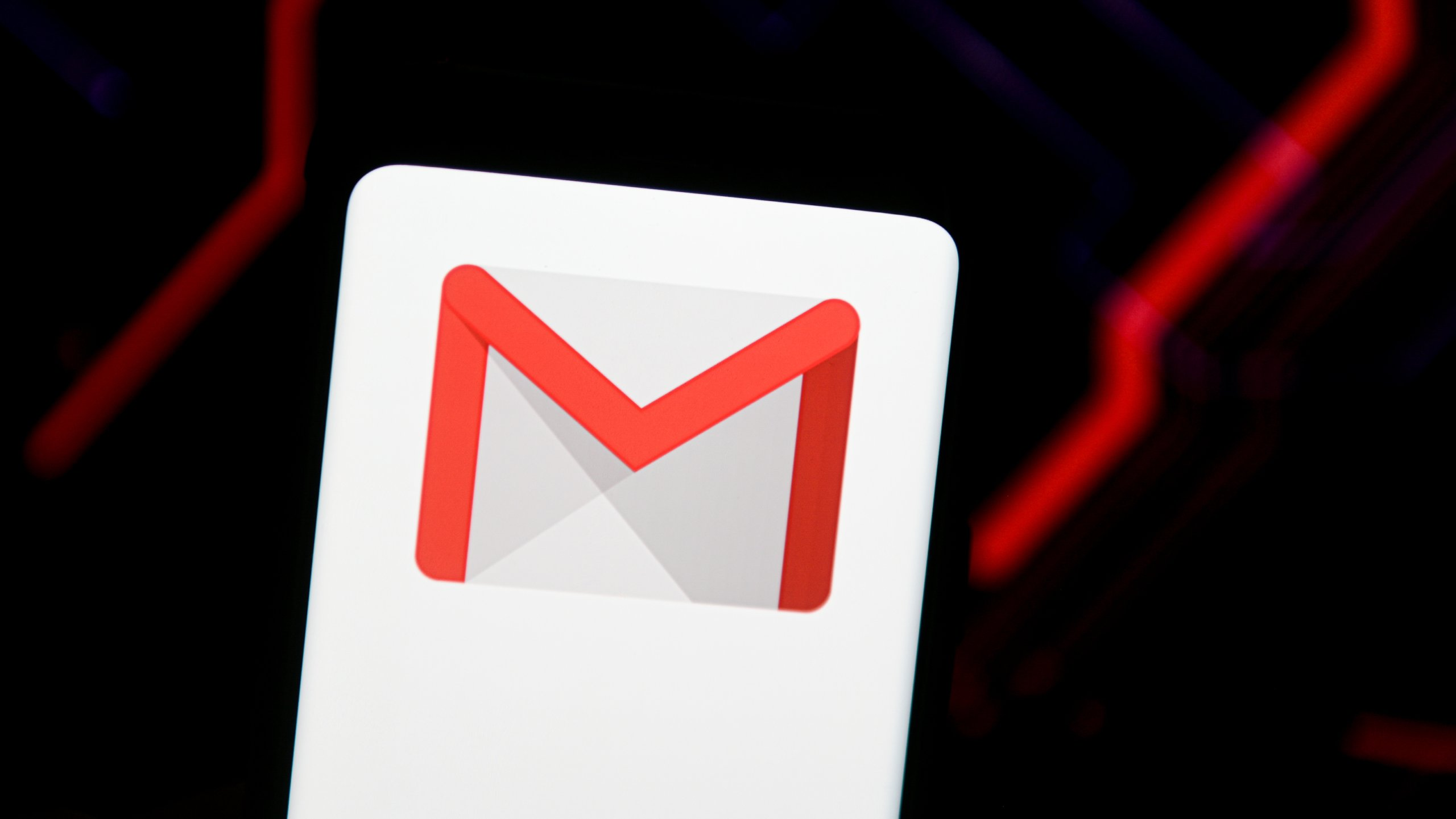In this photo illustration a Gmail logo seen displayed on a