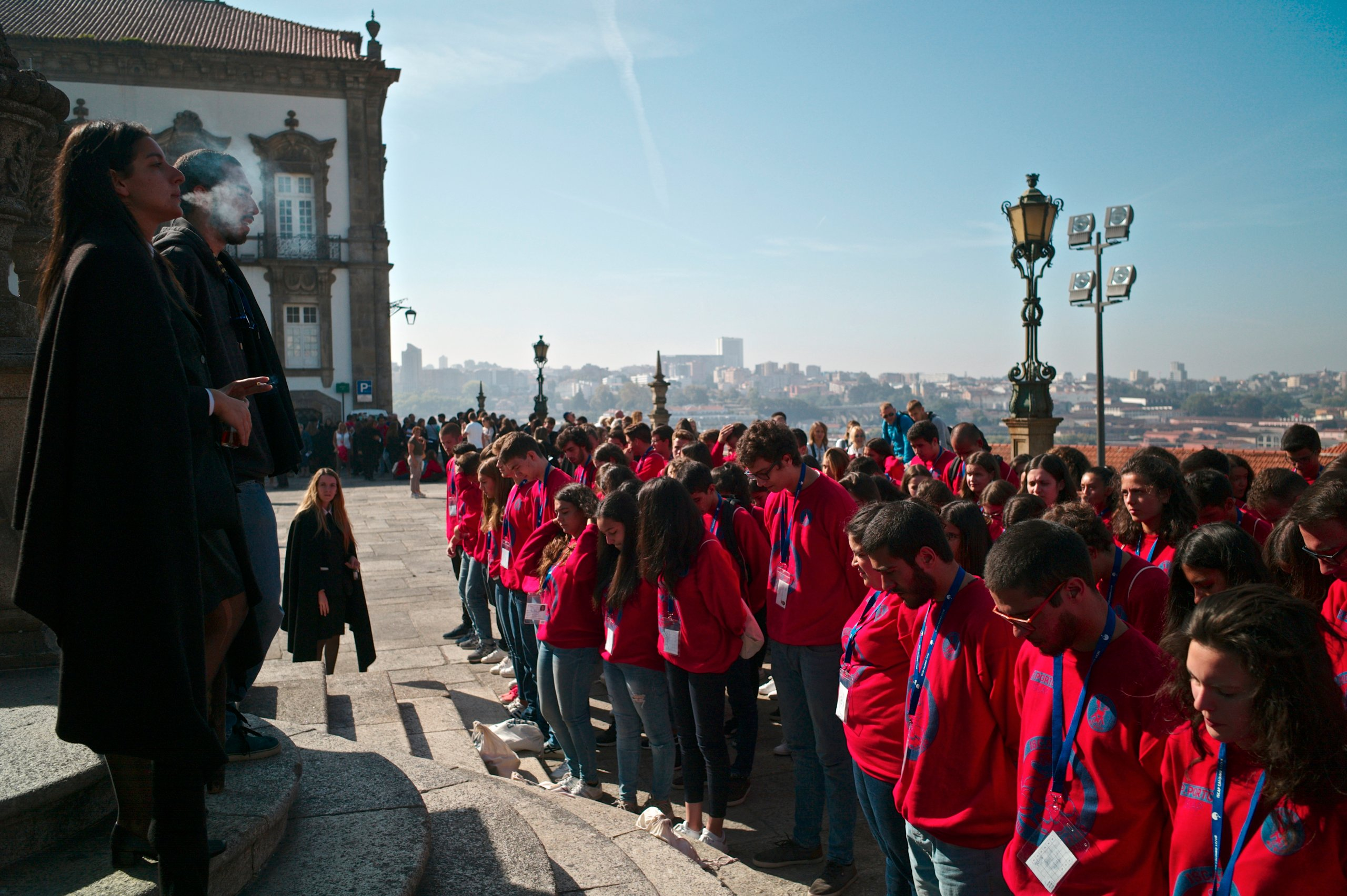University students on initiation rituals of freshmen, known in Portuguese as praxe.