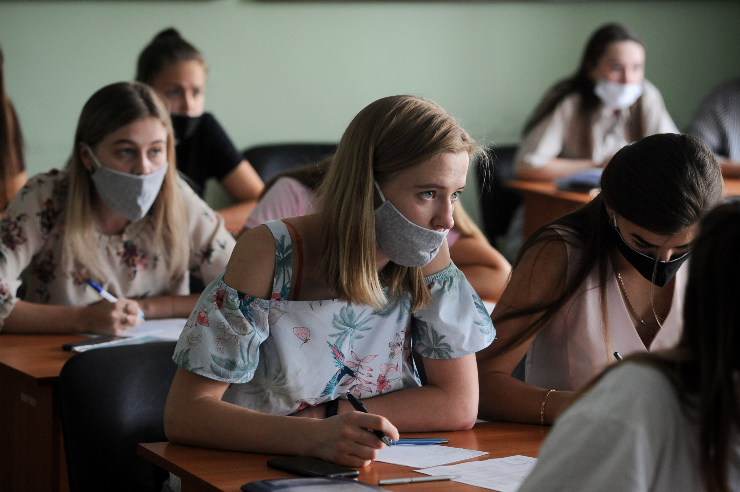 Female students of Tambov University are seen wearing