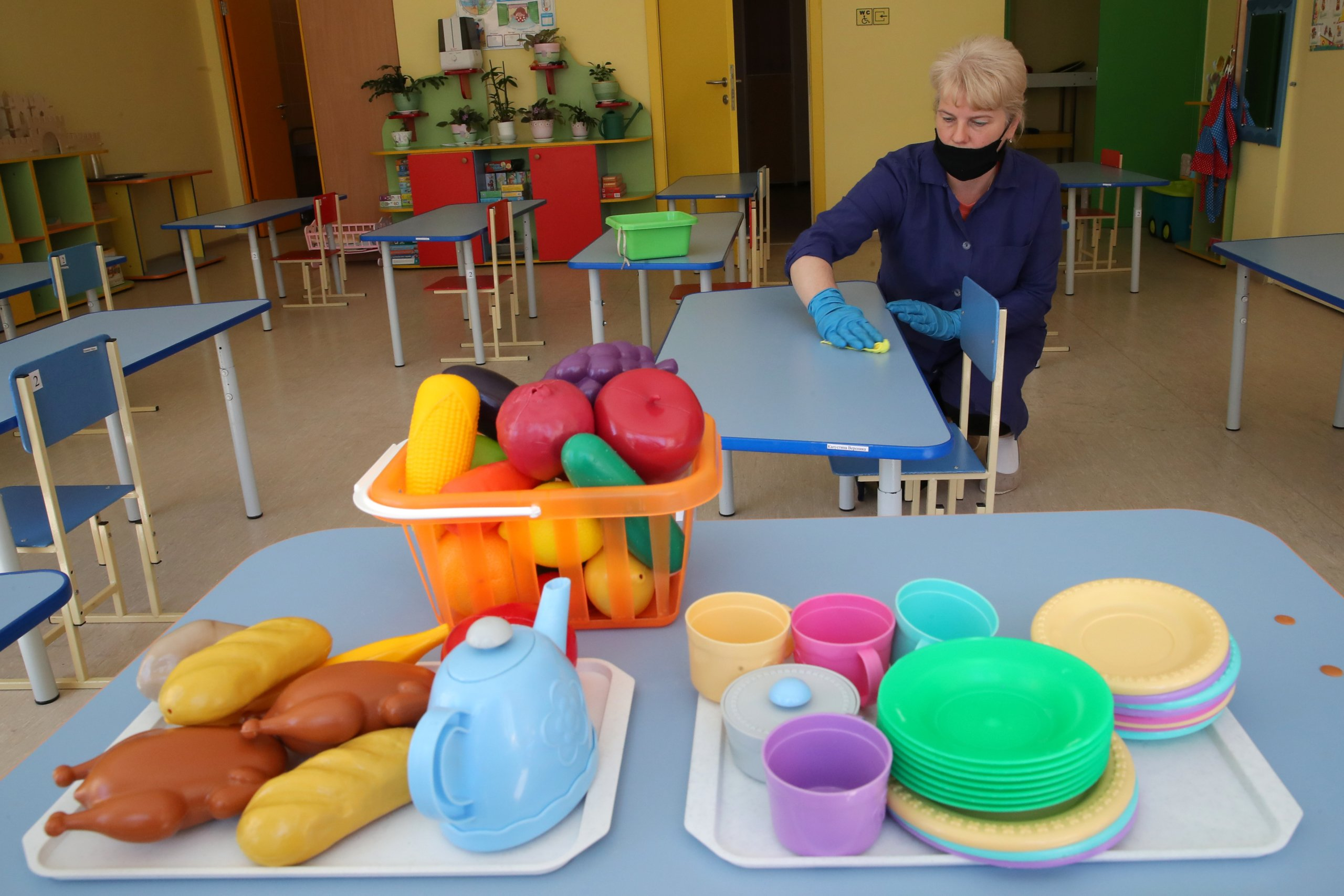 Moscow school's child care facility prepares for opening after COVID-19 lockdown