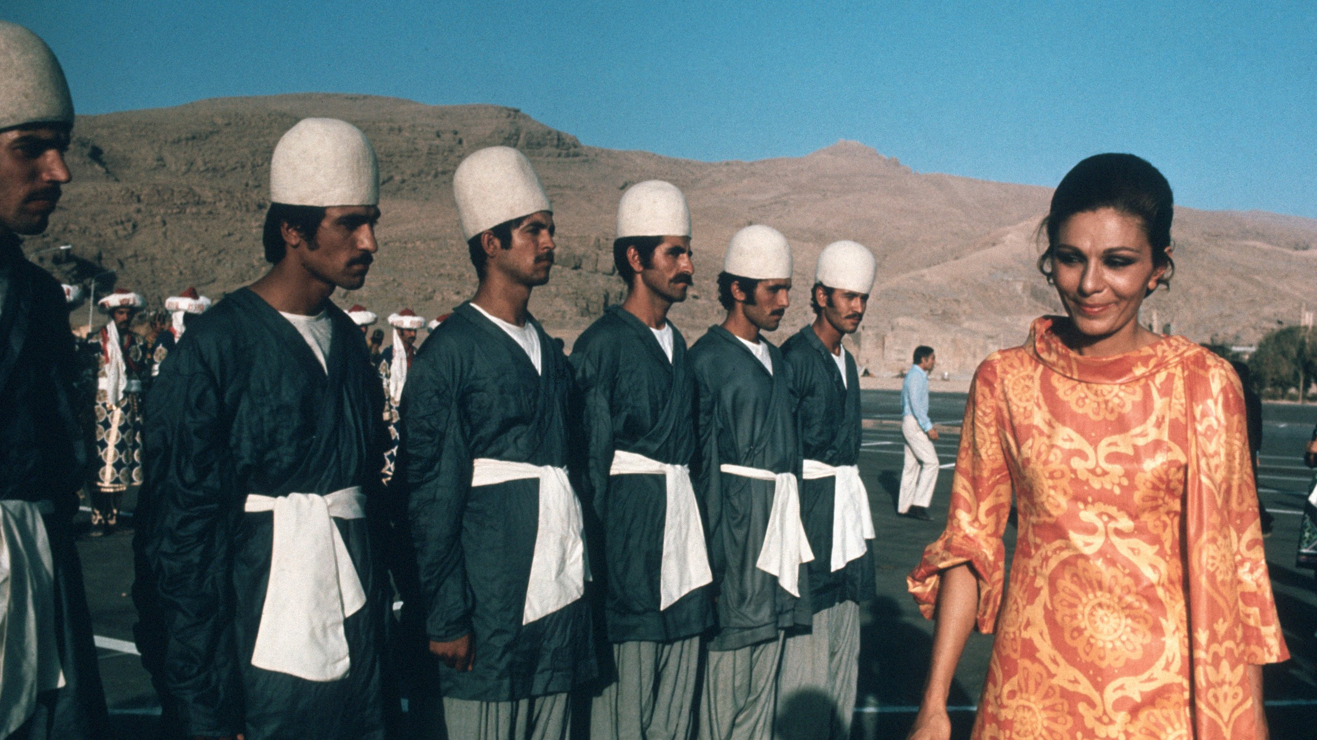 Empress Farah Inspecting Soldiers for Persian Anniversary