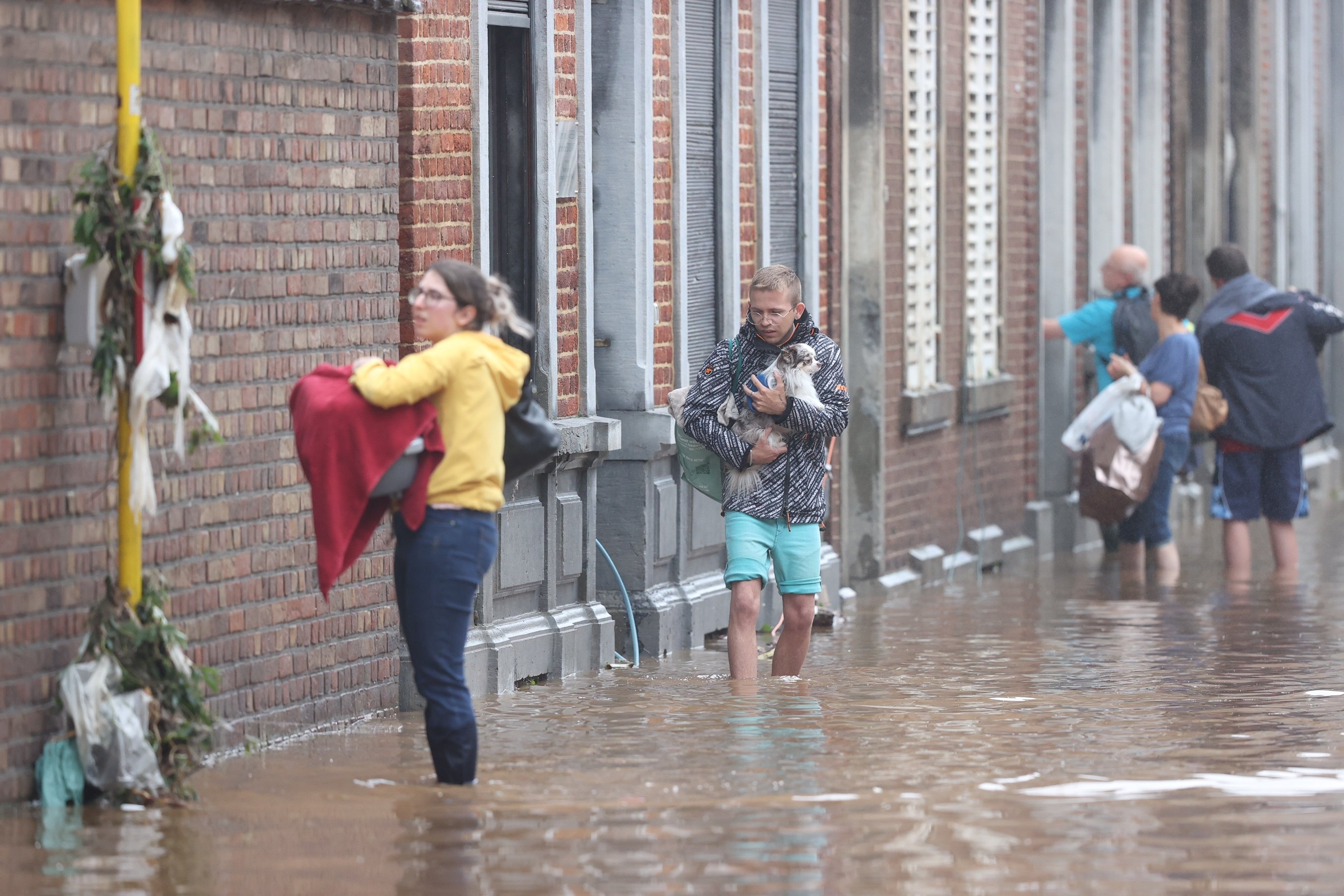 Flooded streets in Belgium as heavy rain in the region