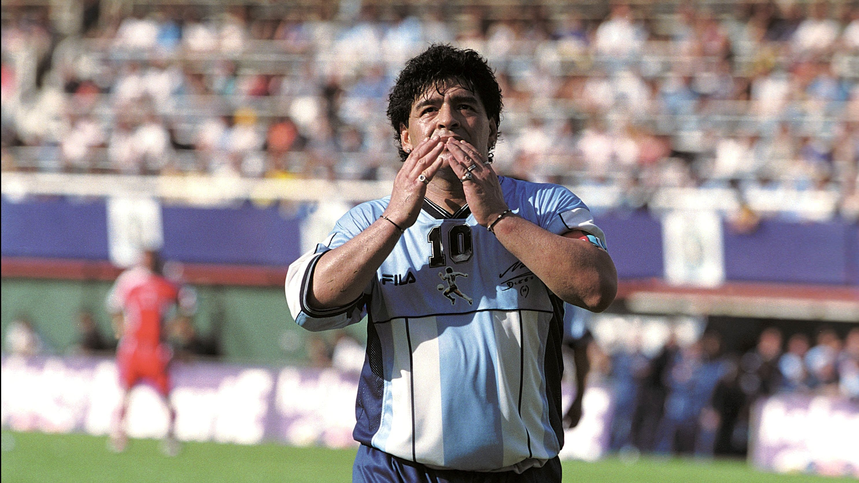 Diego Maradona says good bye to soccer in Buenos Aires, Argentina on November 01, 2001.