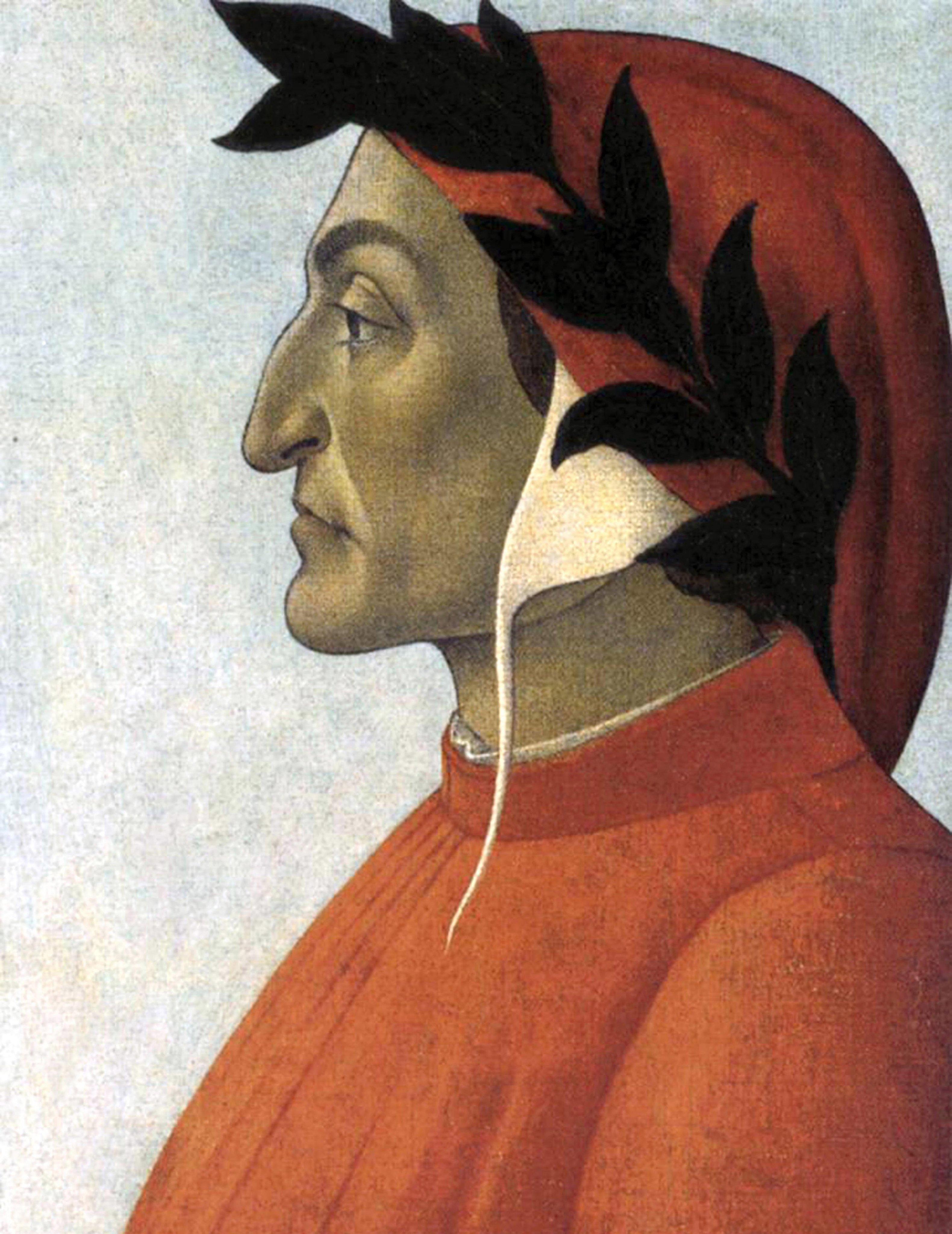 Dante Alighieri (c1265-1321) known as Dante, Italian poet. Portrait c1495 by Sandro Botticelli (c1445-1510) Italian Early Renaissance painter.