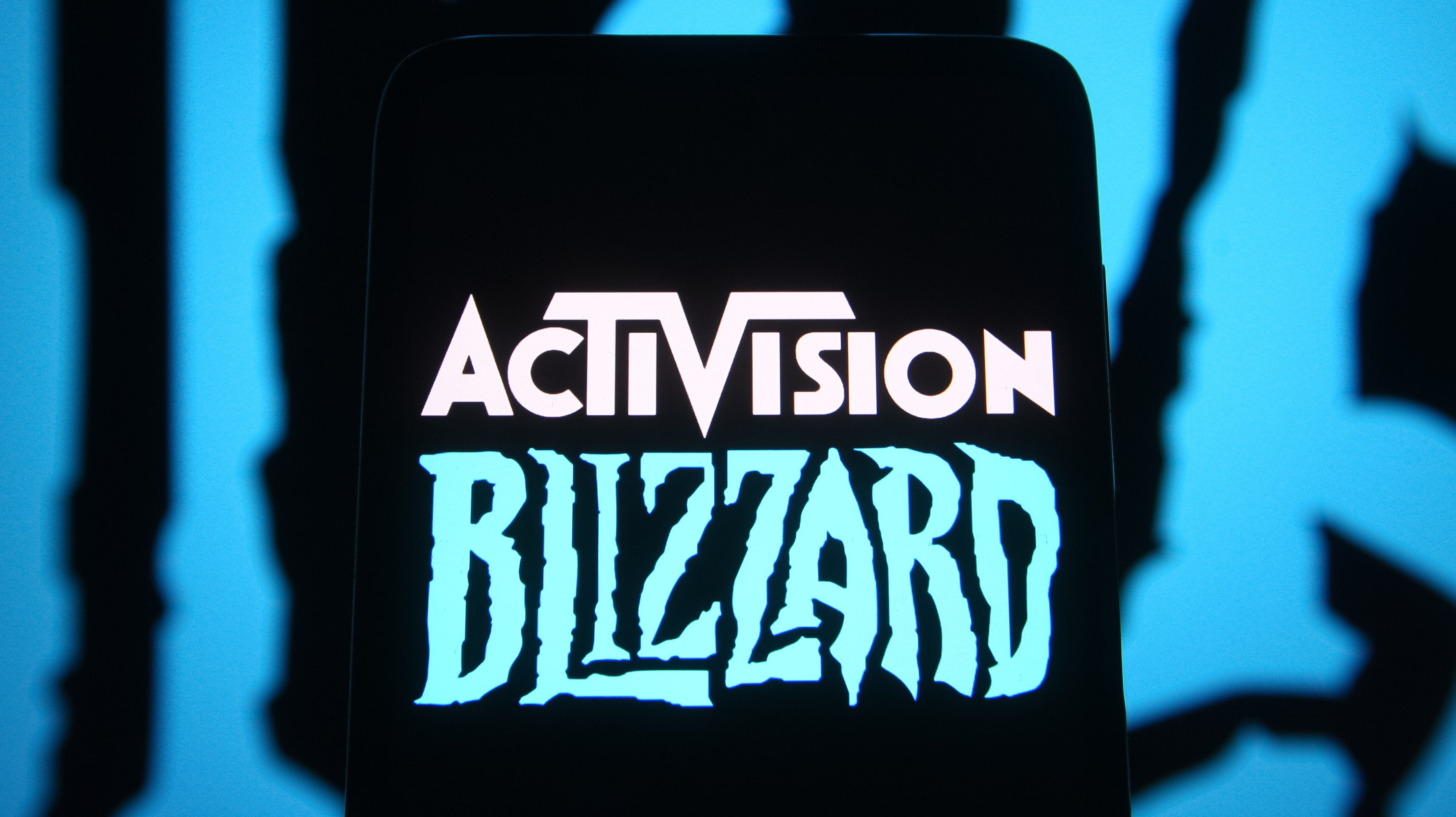 In this photo illustration, Activision Blizzard logo of a