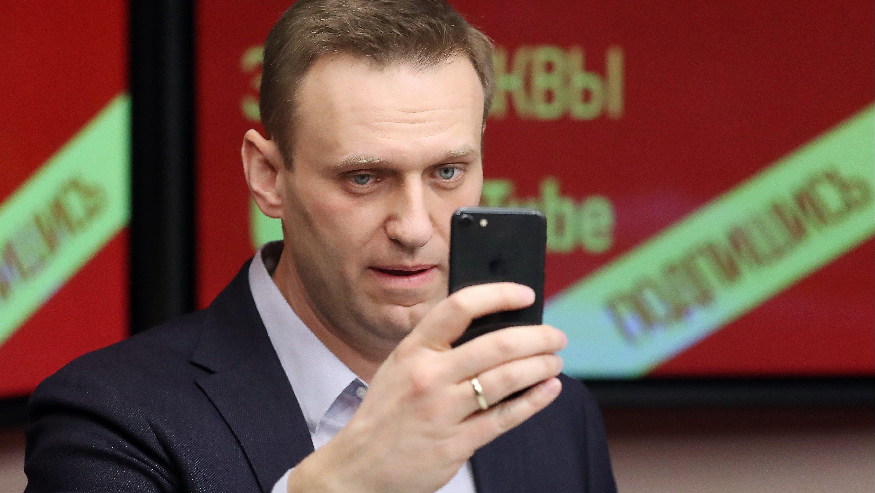 Opposition activist Alexei Navalny speaks on Ekho Moskvy Radio