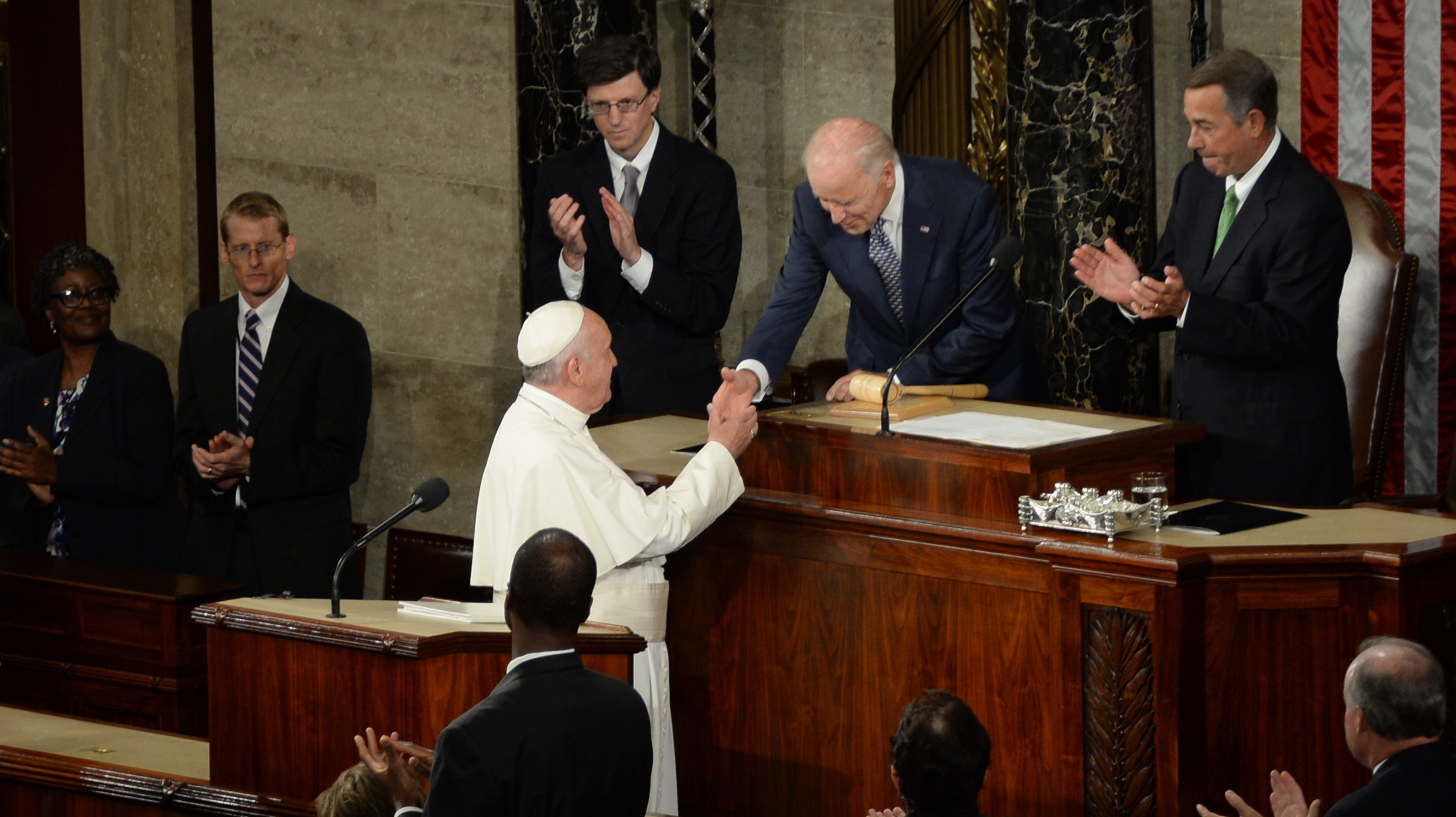 Pope Francis addresses the 114th U.S. Congress for the first time in history.