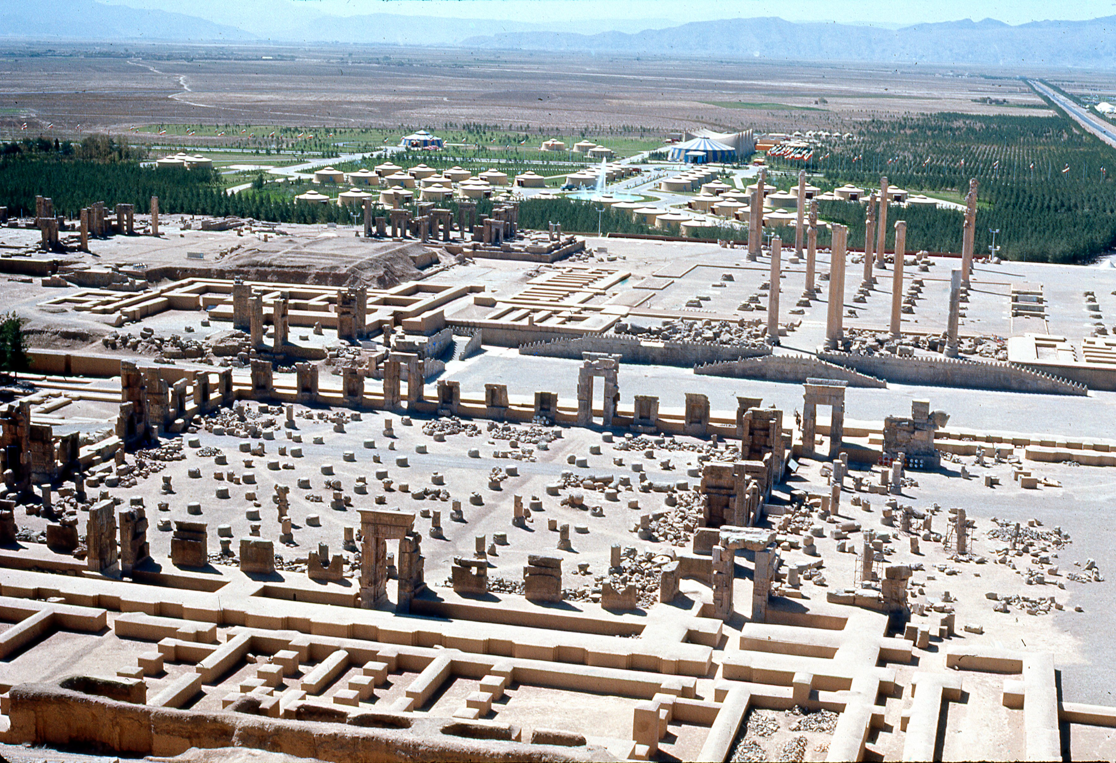 ancient site of Persepolis and tent city built for celebration of 2500th anniversary of founding of Iranian Empire in trent city erected in ruins of Persepolis and attended by foreign dignitaries in October 1971.