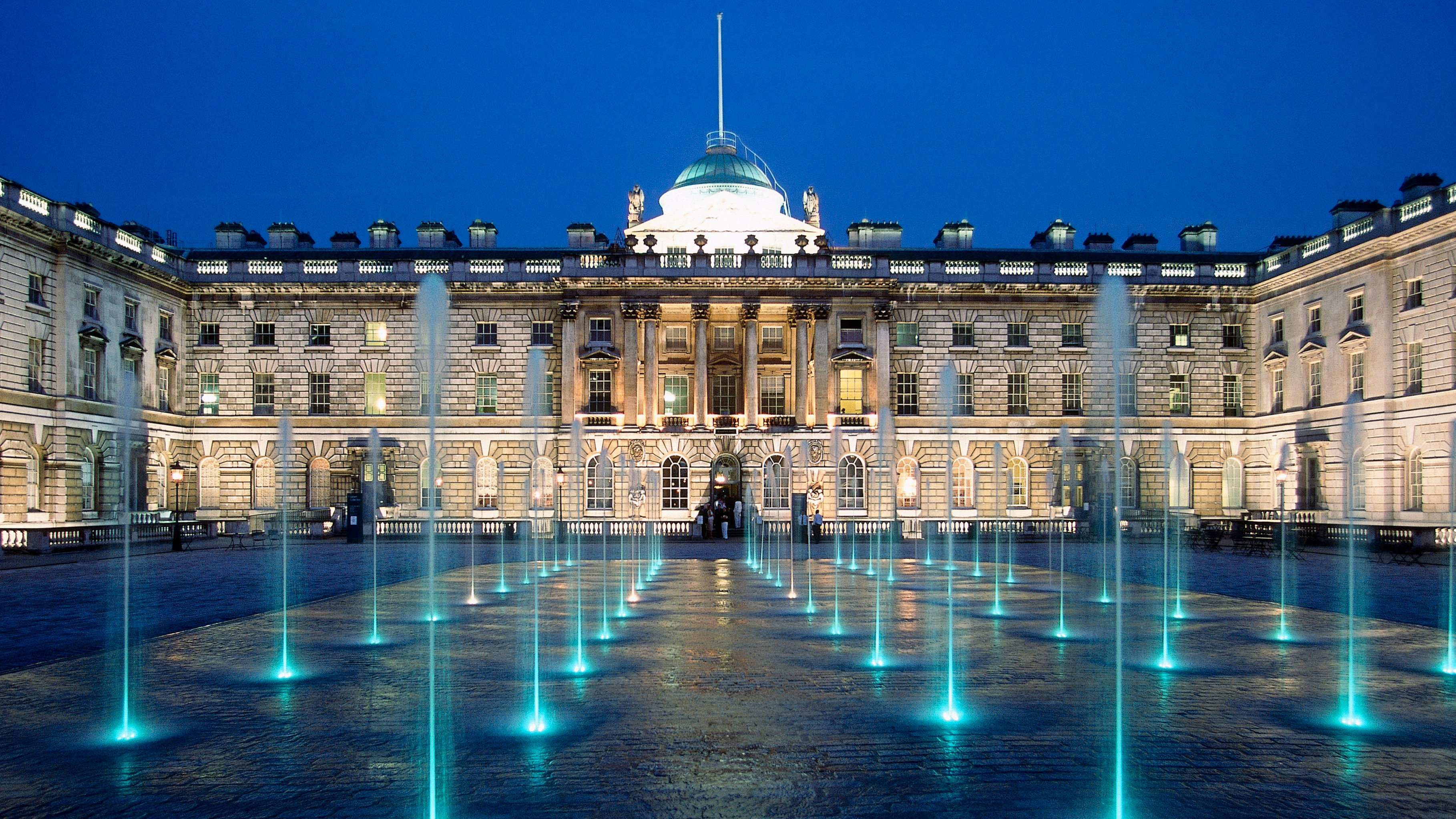 View of Somerset House at night, London, United Kingdom.