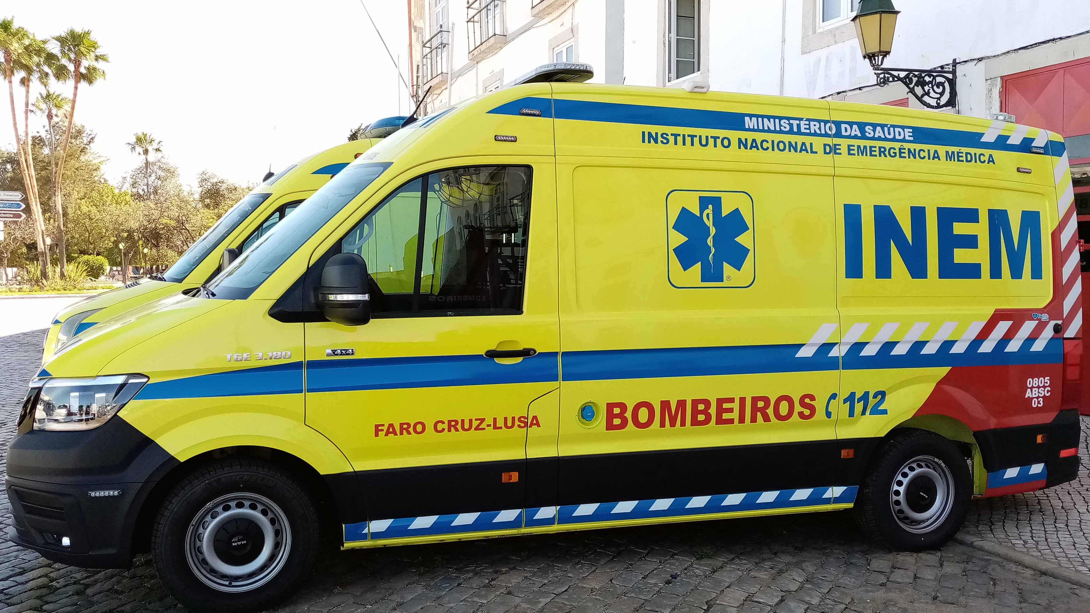 Portuguese Ambulance Land Vehicle Scene In Faro Algarve Portugal Europe