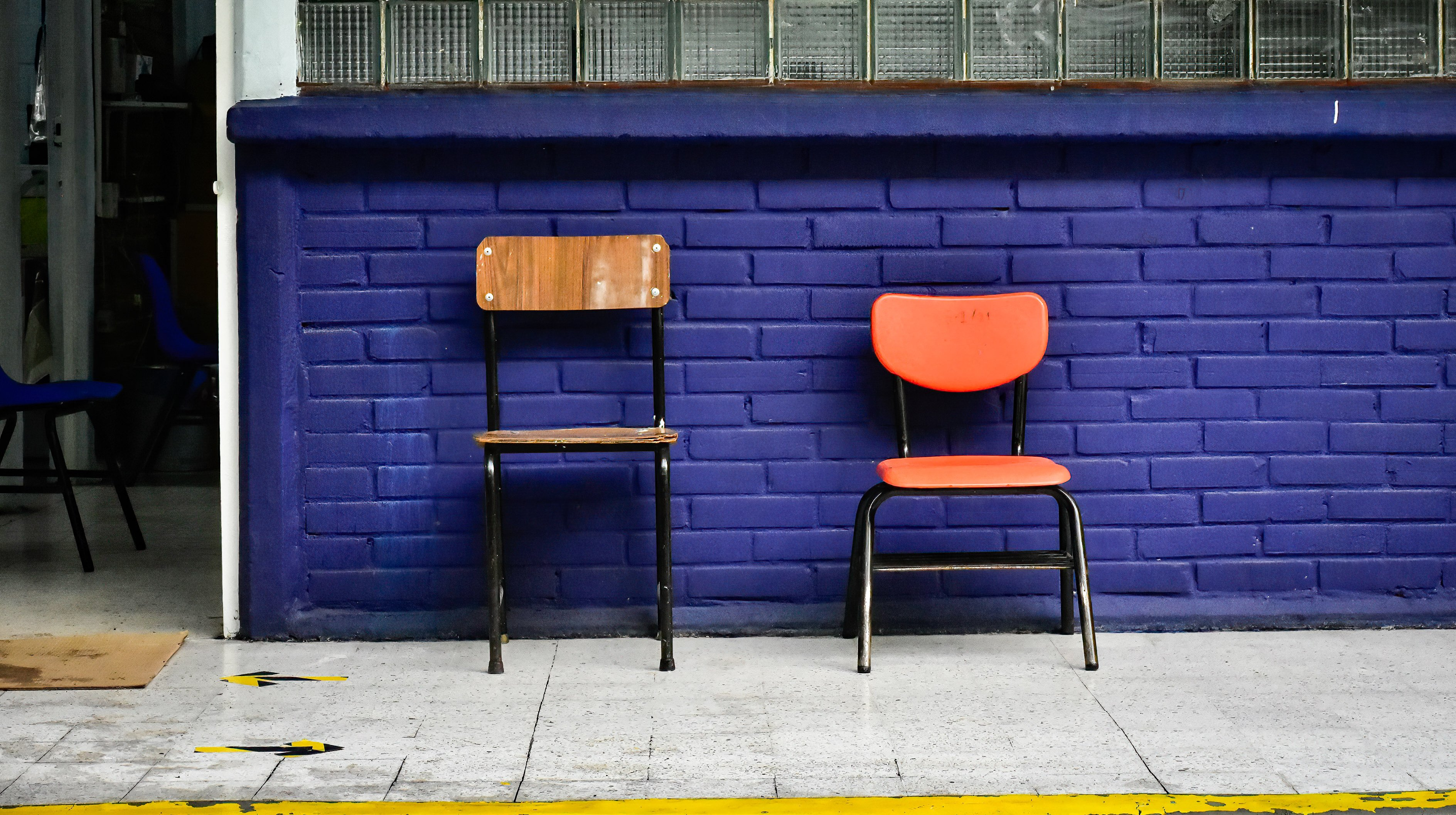 Empty chairs seen outside a classroom.Schools in Mexico