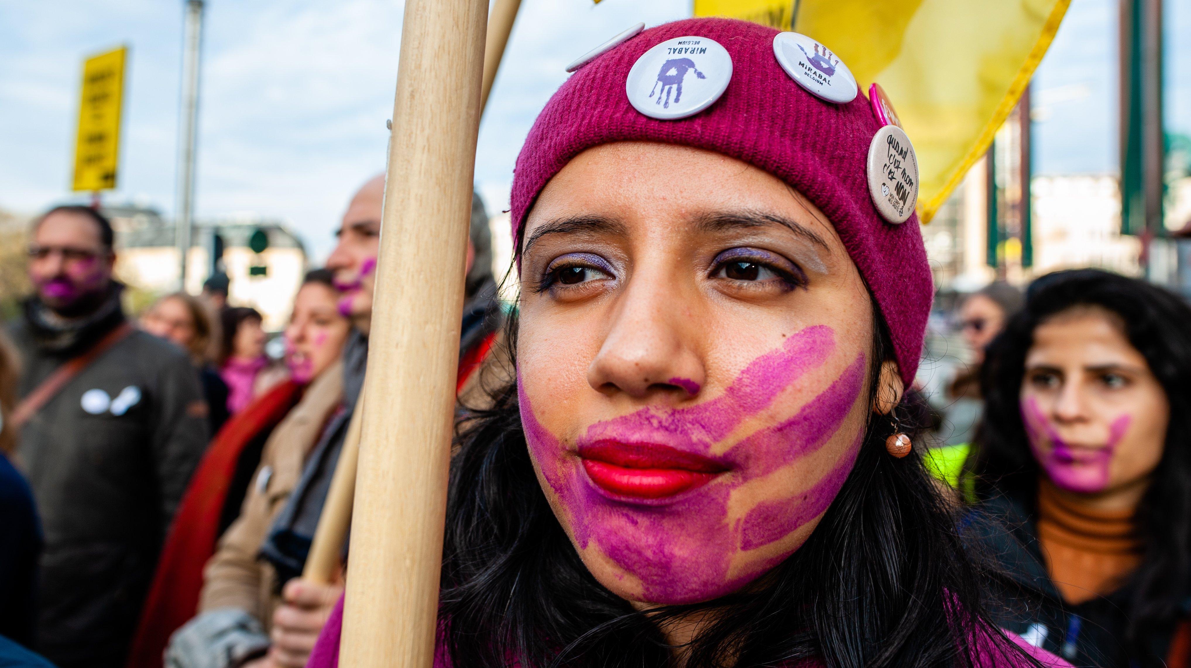 'Stop Violence Against Women' Demonstration In Brussels