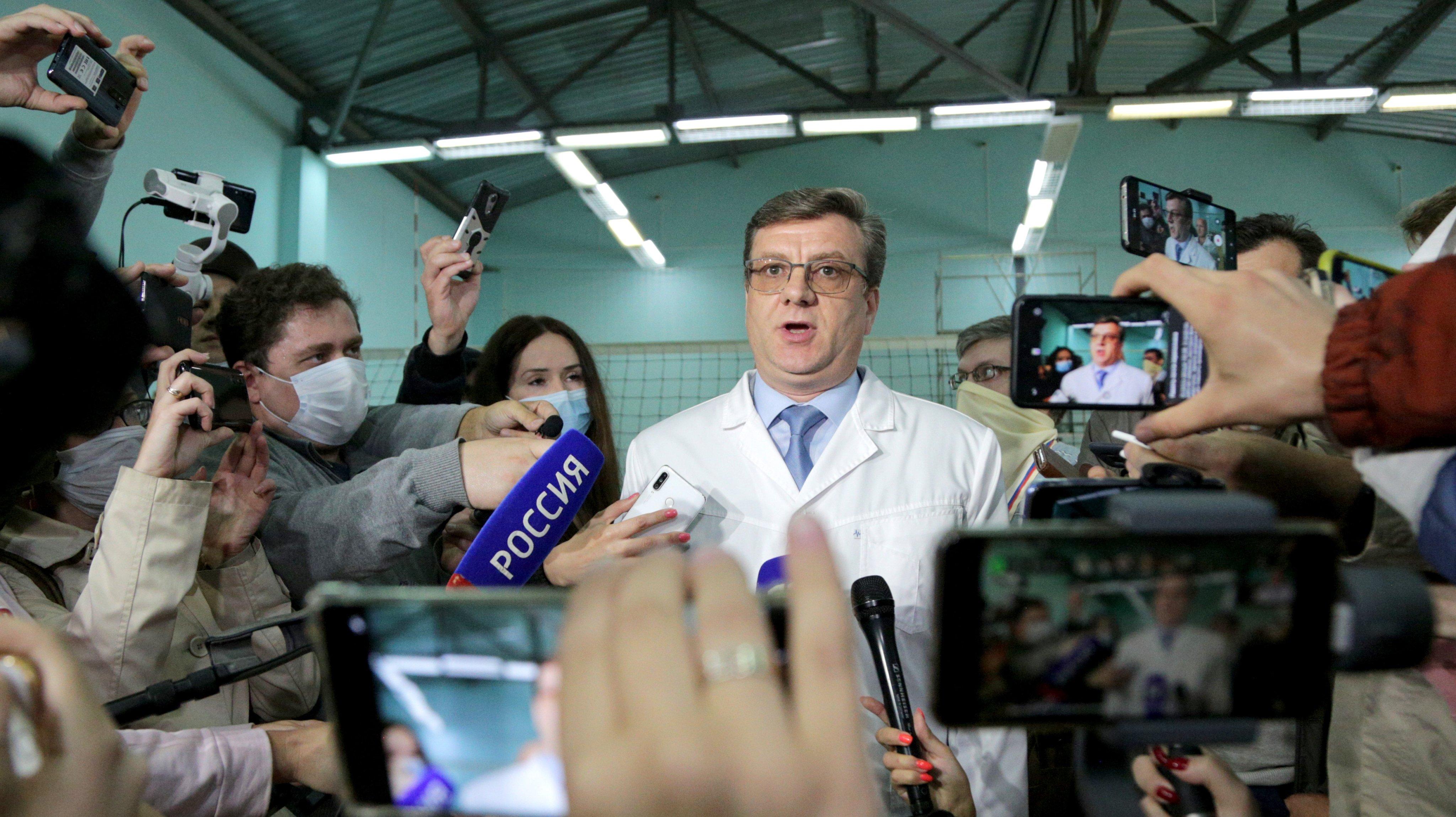 Scene outside hospital in Omsk where Russian opposition activist Alexei Navalny is hospitalised