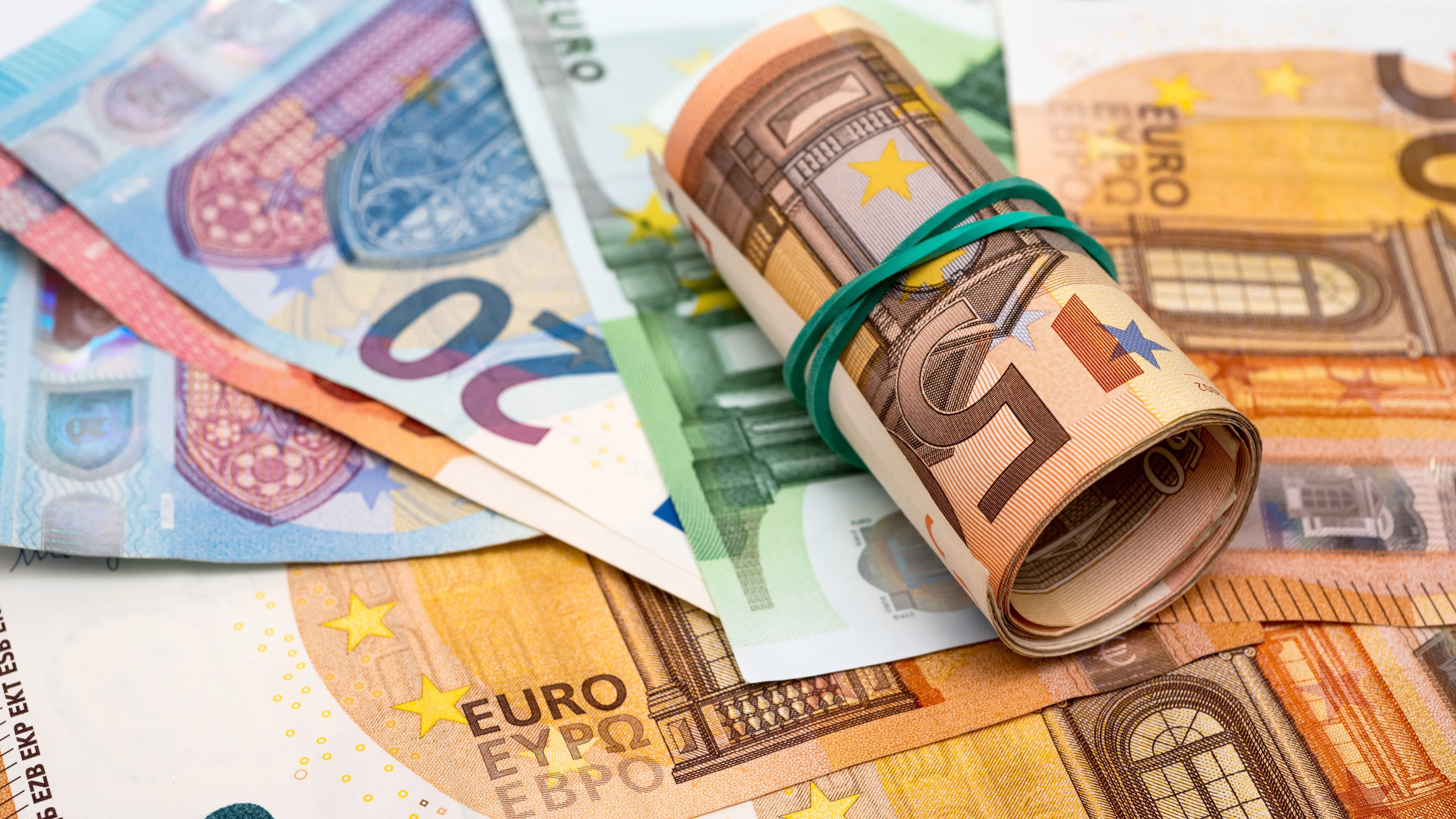 In this photo illustration 10, 50 and 20 Euros banknotes