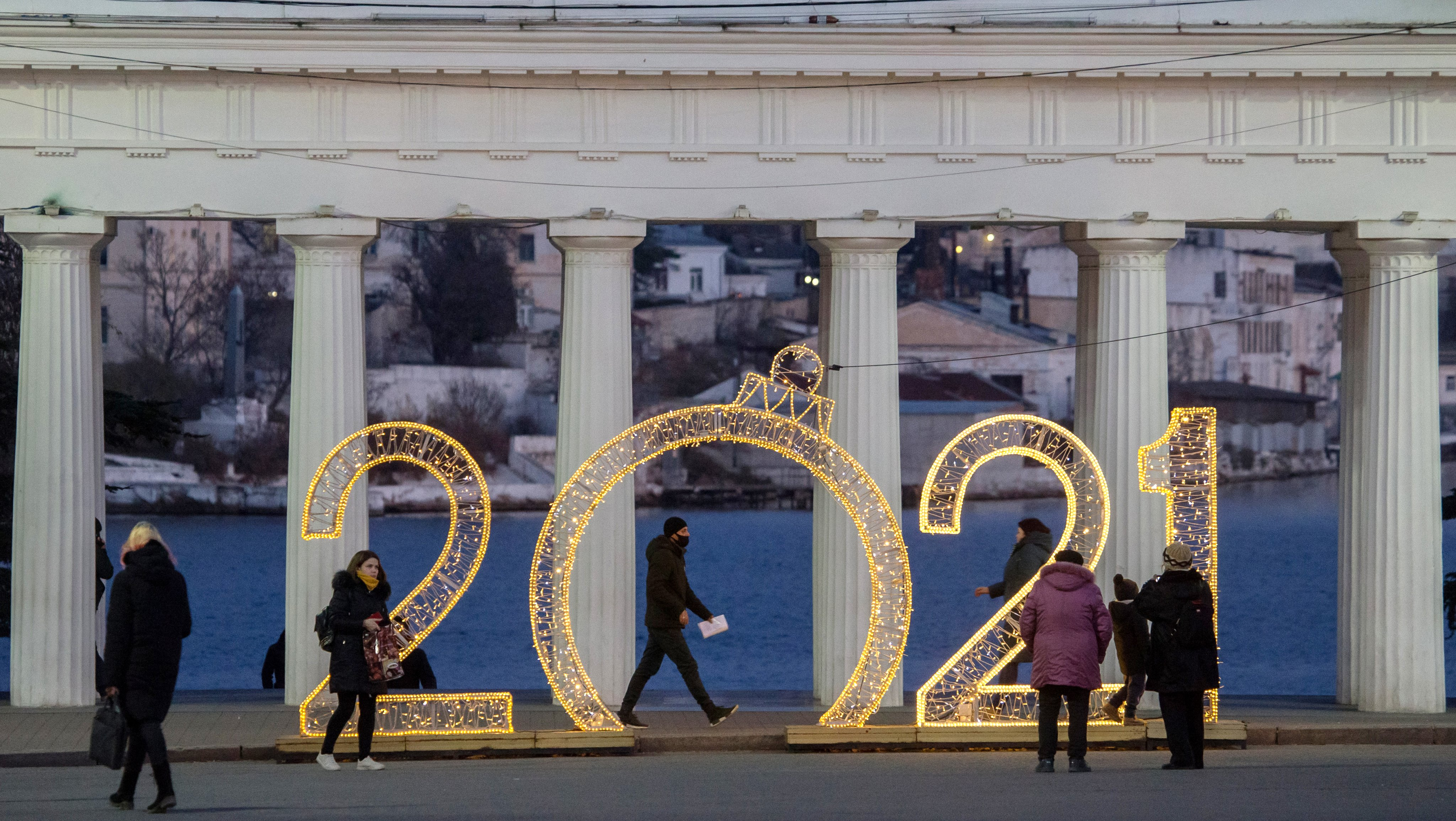 Russian city of Sevastopol decorated for winter holidays