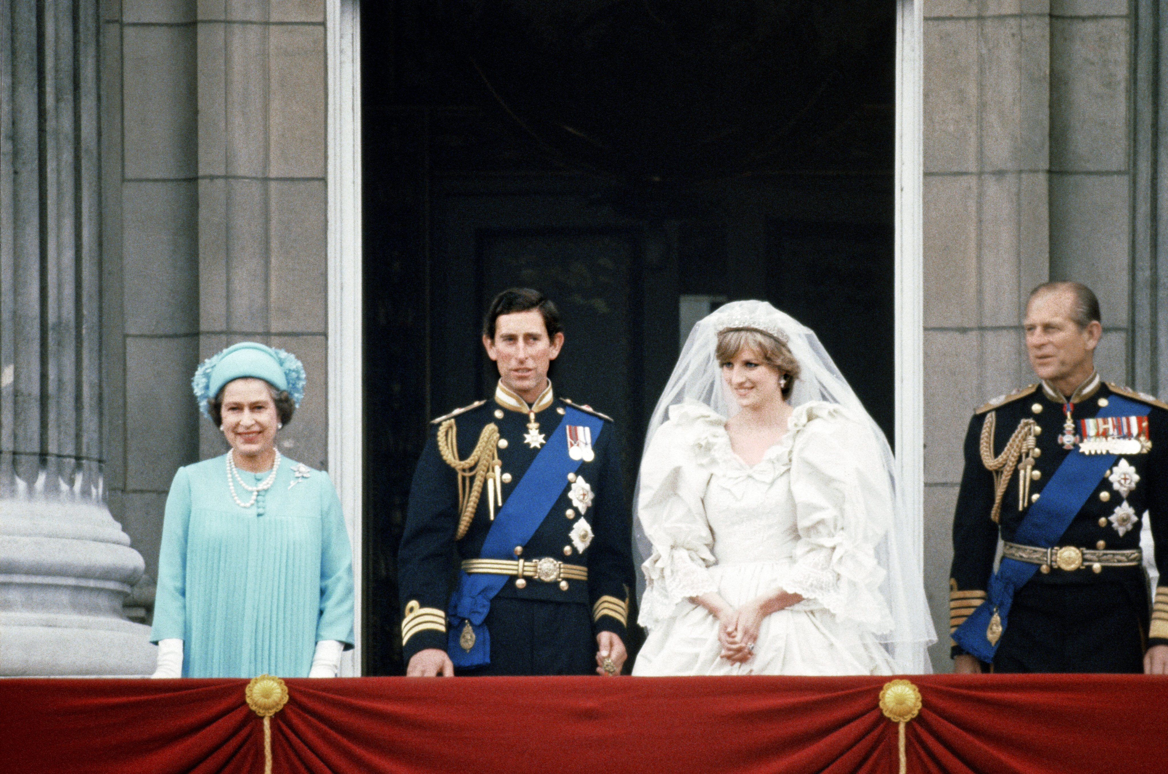 Prince Charles and Lady Diana Spencer with Queen Elizabeth II and Prince Philip on the balcony at Buckingham Palace