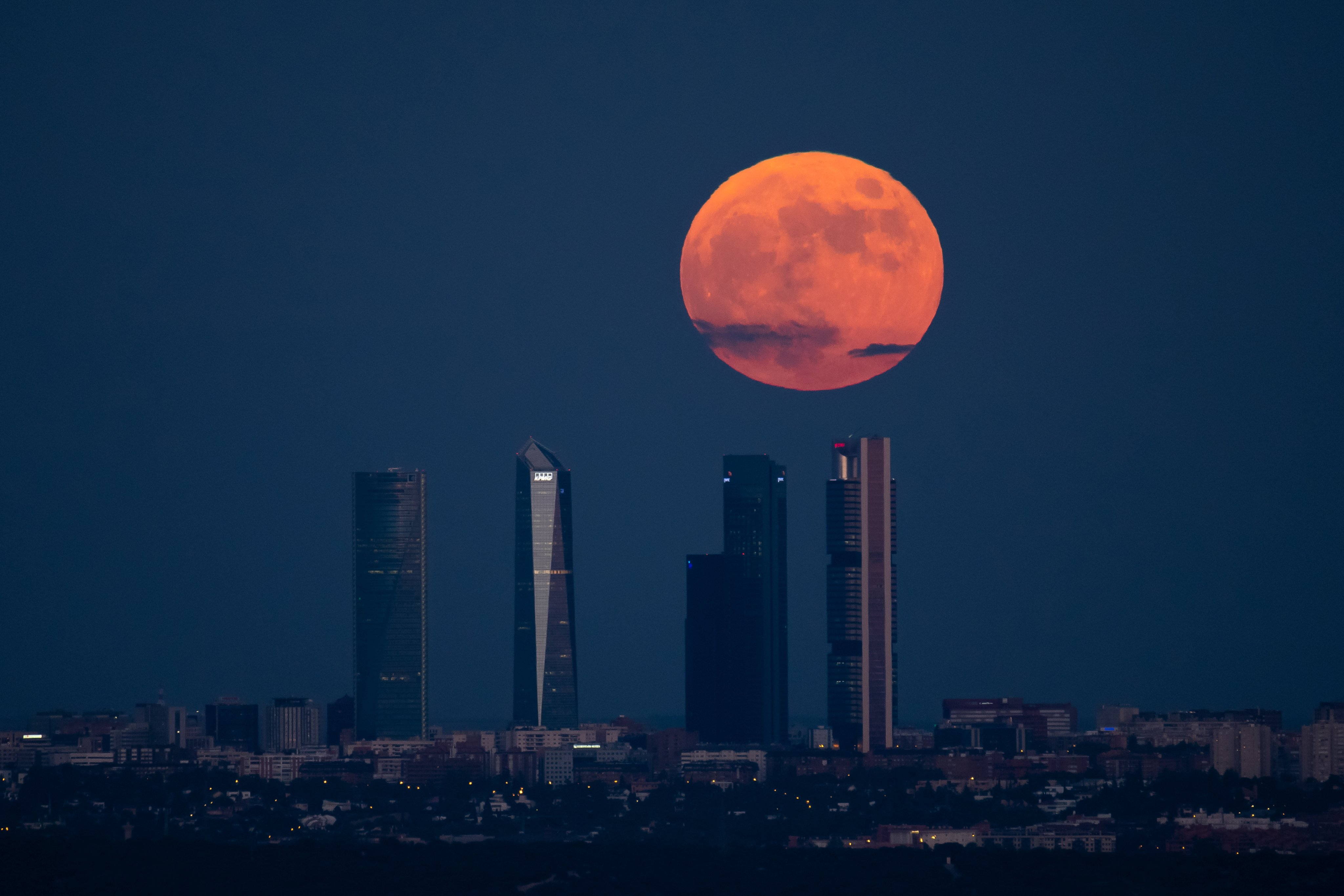 The full moon of June also known as Strawberry Moon rises