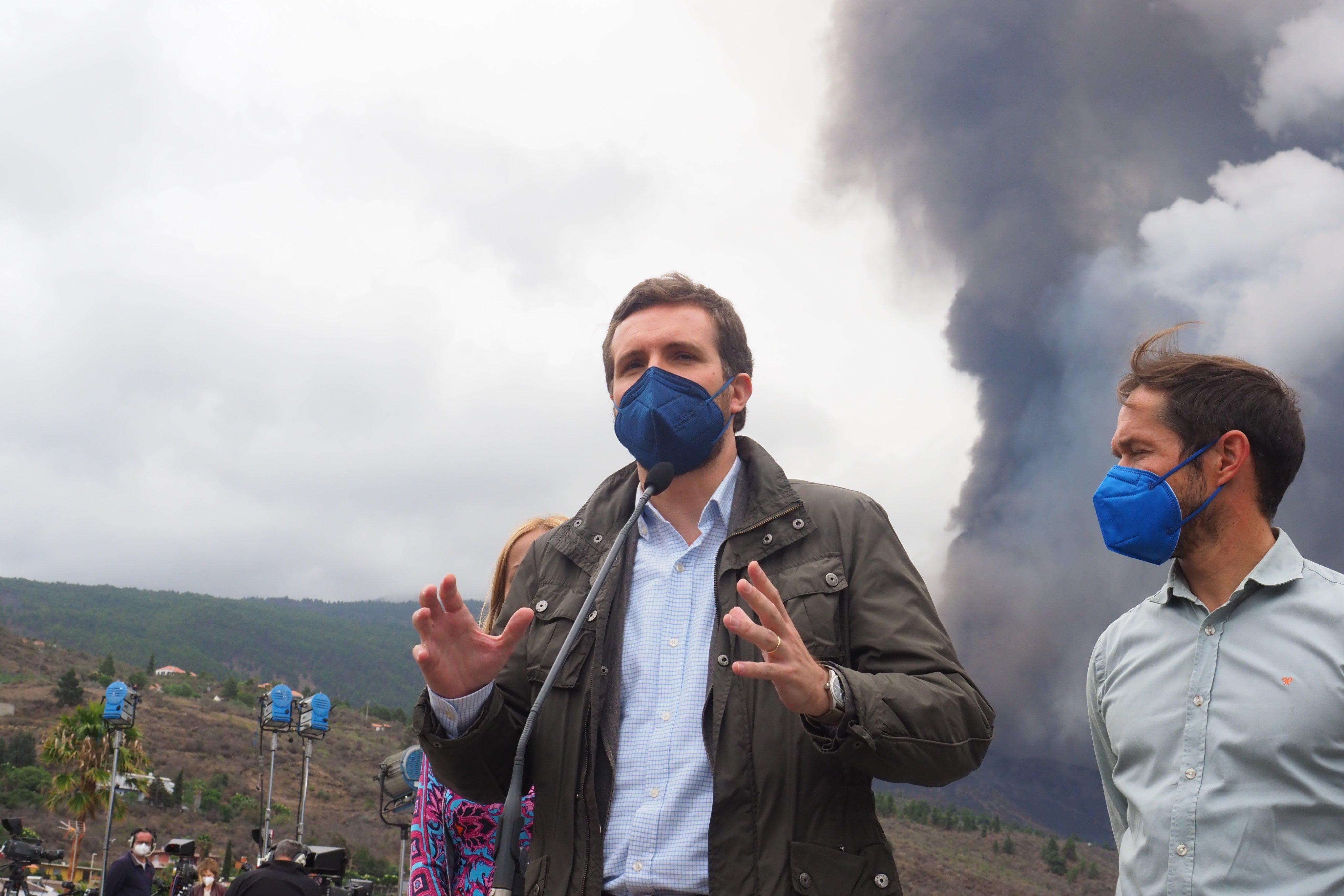 Pablo Casado (pp) Visits La Palma Due To The Eruption Of The Cumbre Vieja Volcano