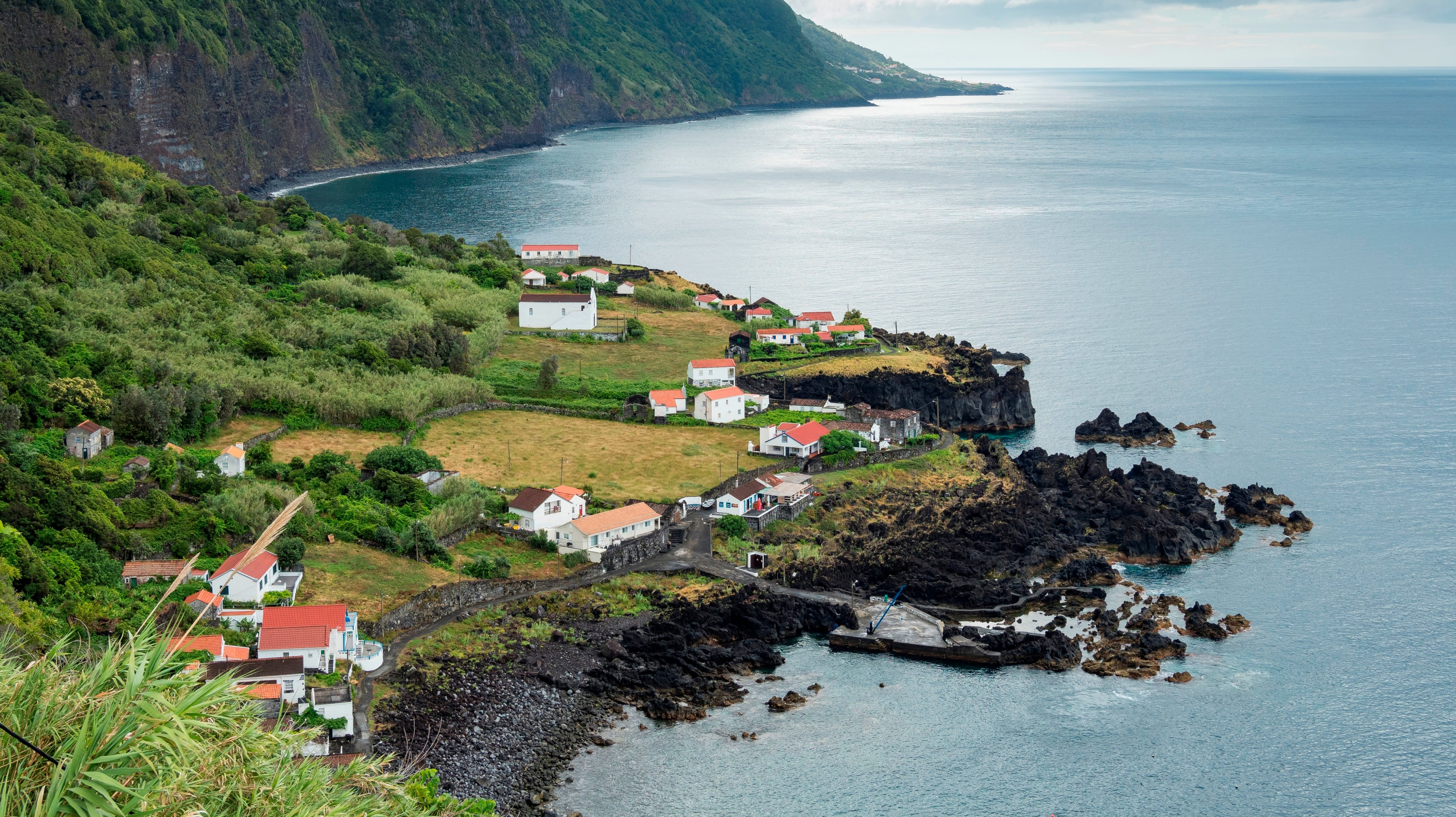 Faja das Almas on the southern coast. Sao Jorge Island. an island in the Azores (Ilhas dos Acores) in the Atlantic ocean. The Azores are an autonomous region of Portugal. Europe. Portugal. Azores.