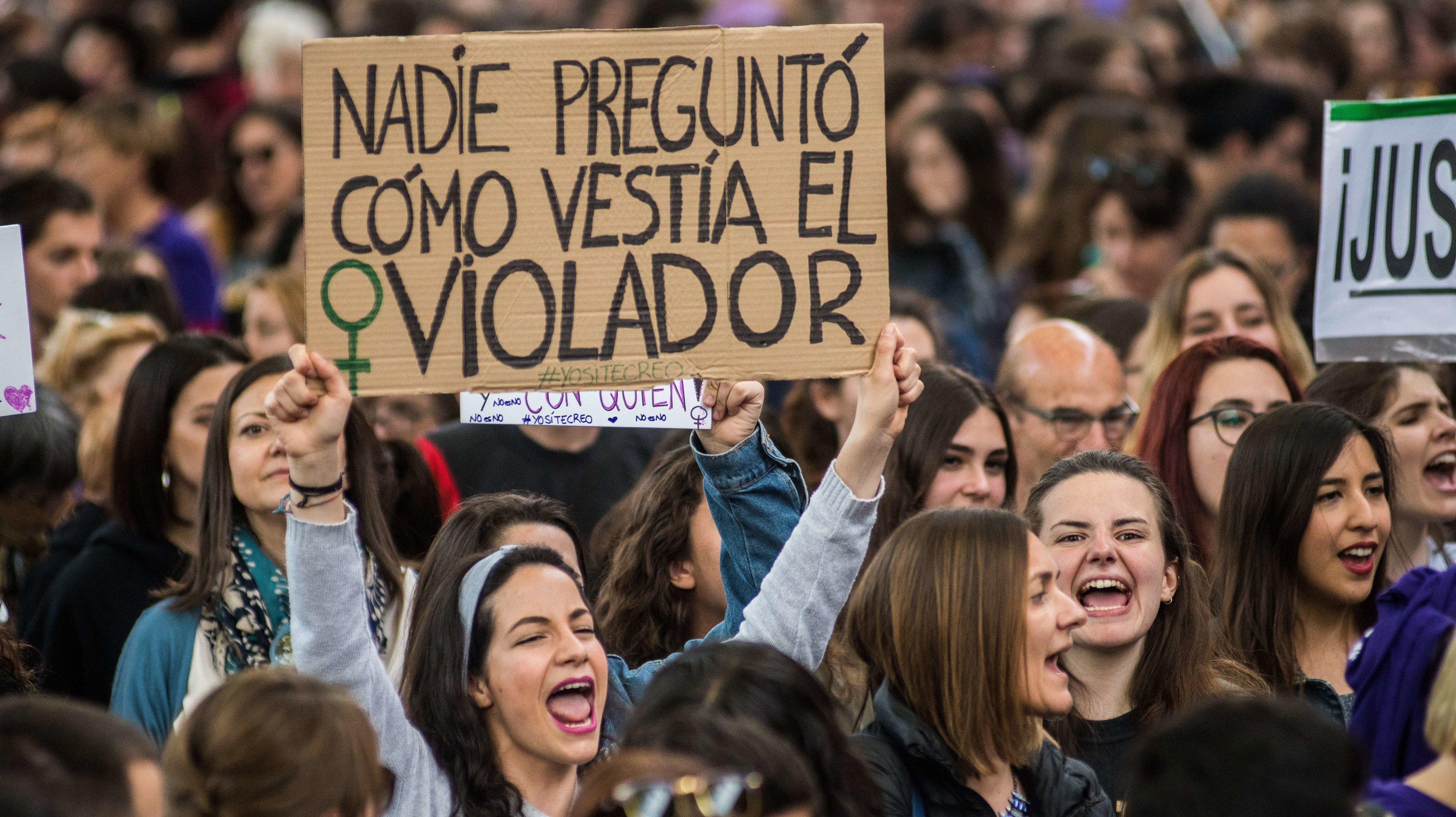 A woman protesting against the verdict of 'La Manada' case